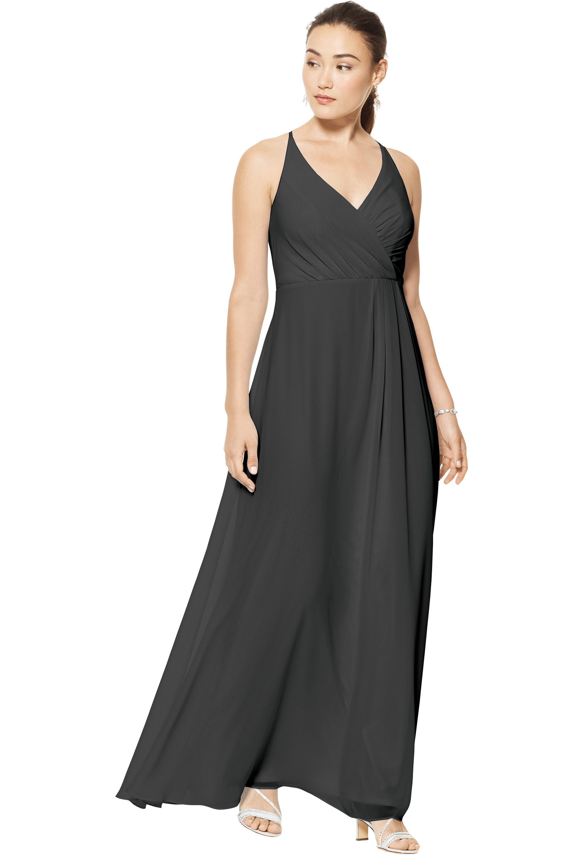 Bill Levkoff CHARCOAL Chiffon V-neck A-line gown, $158.00 Front