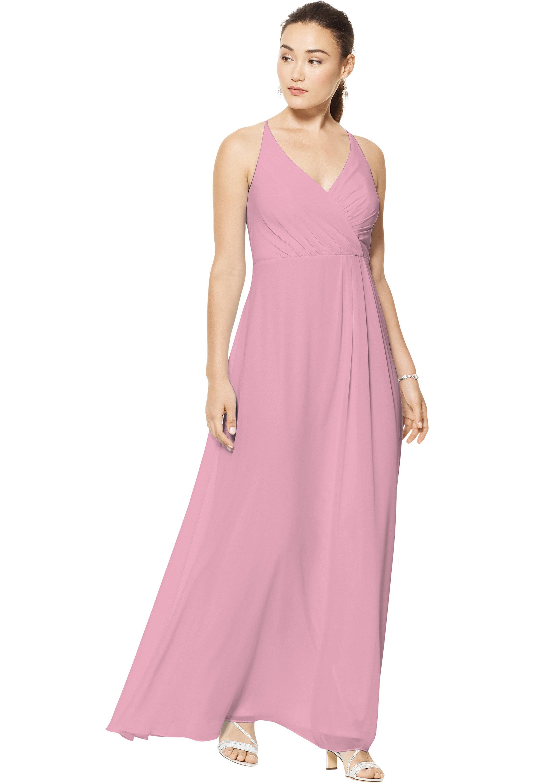 Bill Levkoff ROSEPETAL Chiffon V-neck A-line gown, $158.00 Front