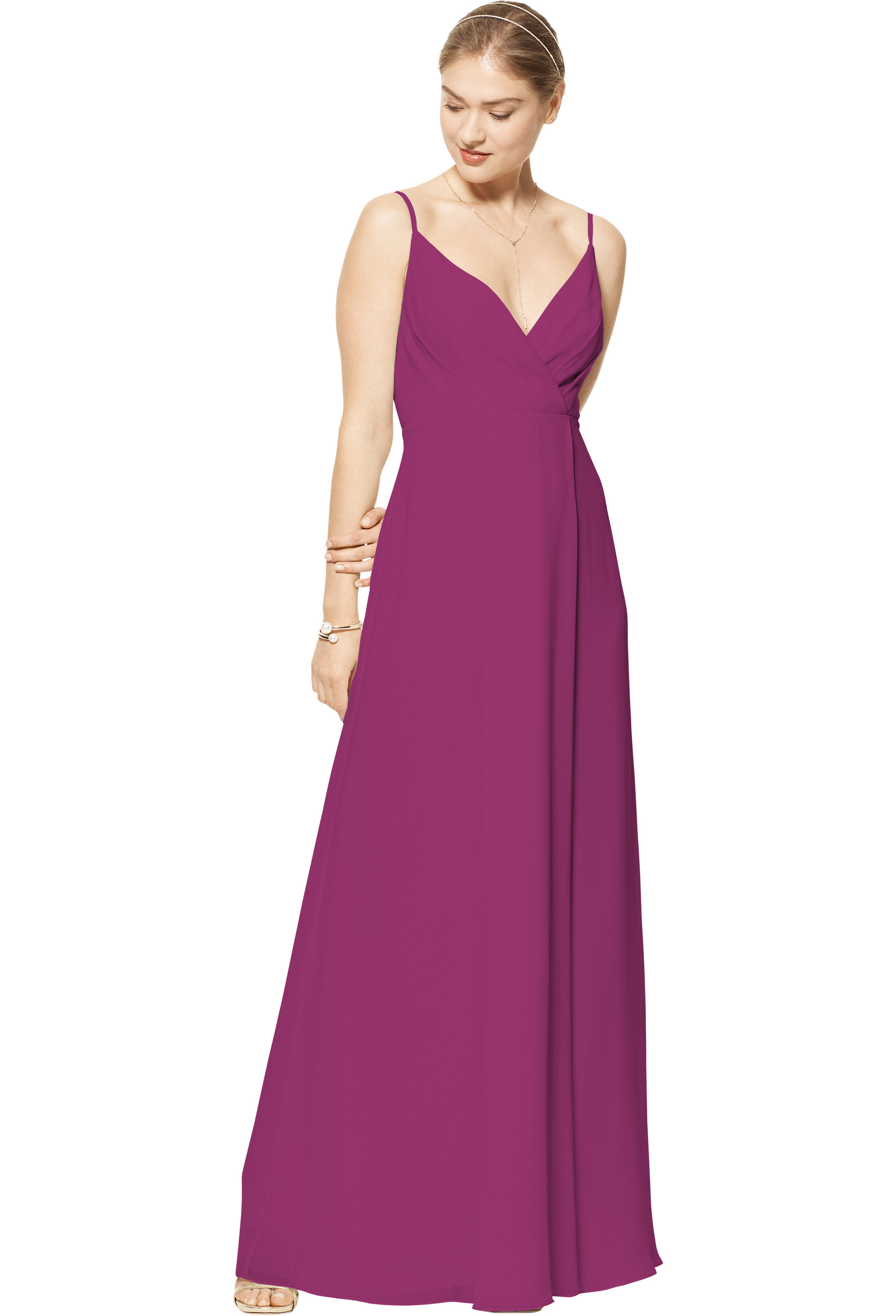 Bill Levkoff SANGRIA Chiffon V-neck A-line gown, $170.00 Front