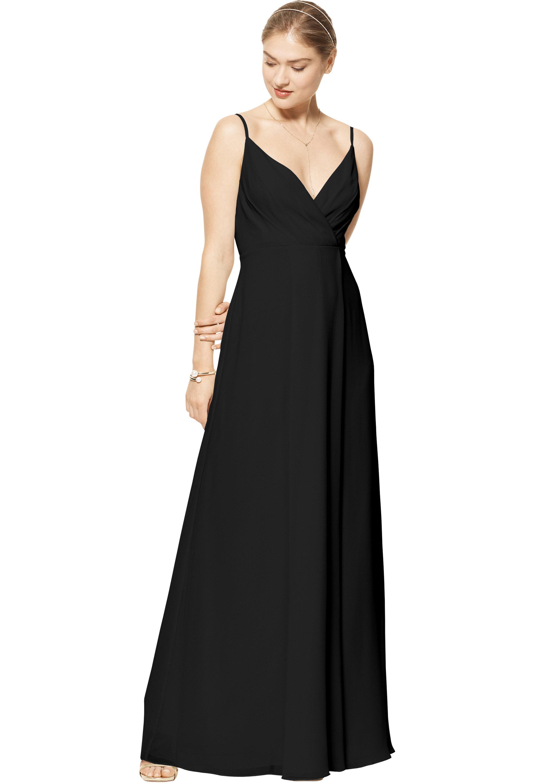 Bill Levkoff BLACK Chiffon V-neck A-line gown, $170.00 Front