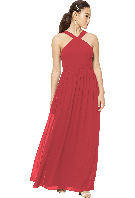 Bill Levkoff Cherry Chiffon Sleeveless A-line gown, $150.00 Front