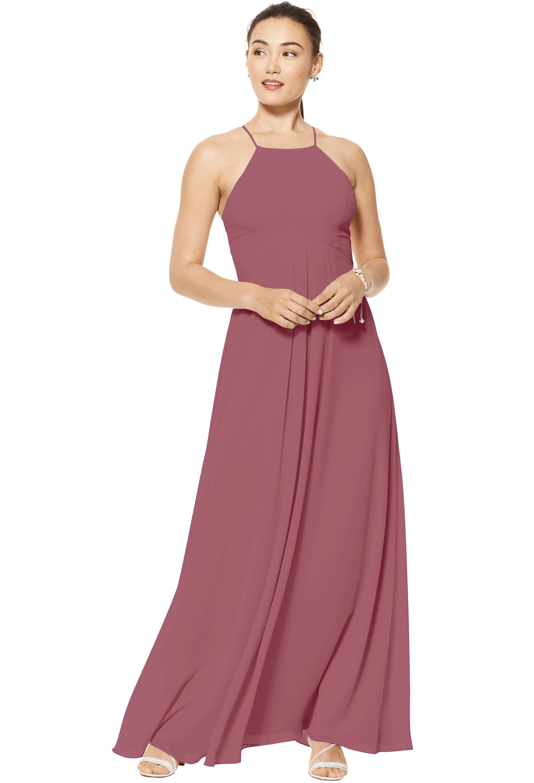 Bill Levkoff ROSEWOOD Chiffon Jewel A-line gown, $150.00 Front