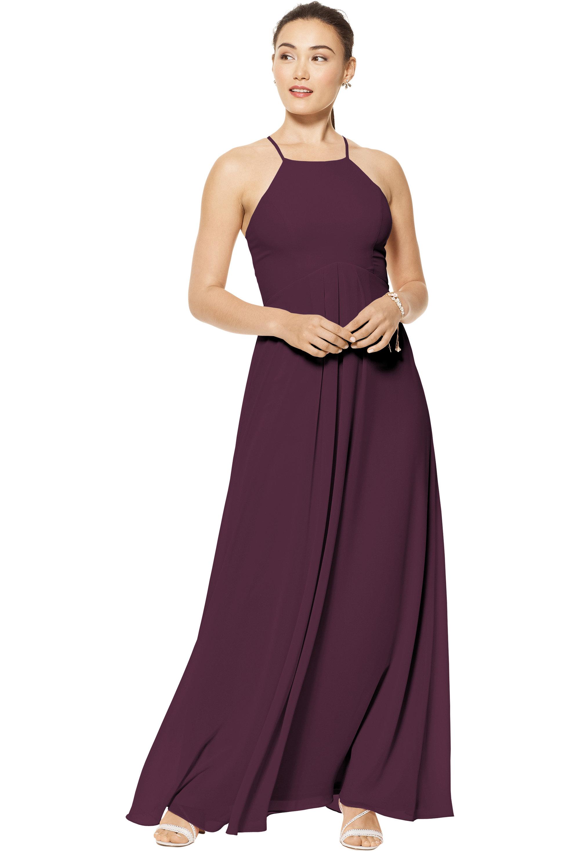 Bill Levkoff Eggplant Chiffon Jewel A-line gown, $150.00 Front