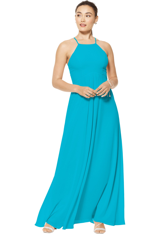 Bill Levkoff OASIS Chiffon Jewel Neckline A-line gown, $150.00 Front