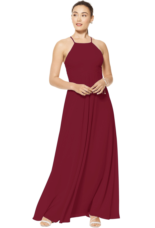 Bill Levkoff CRANBERRY Chiffon Jewel A-line gown, $150.00 Front