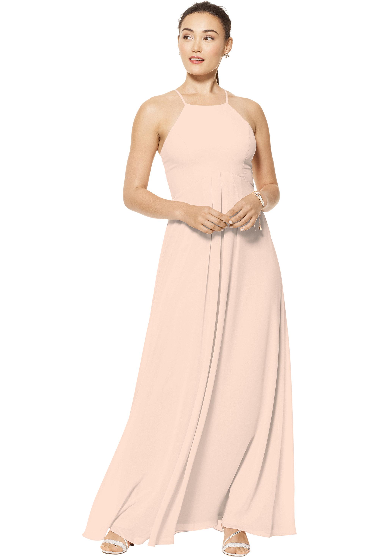 Bill Levkoff SHELL PINK Chiffon Jewel A-line gown, $150.00 Front