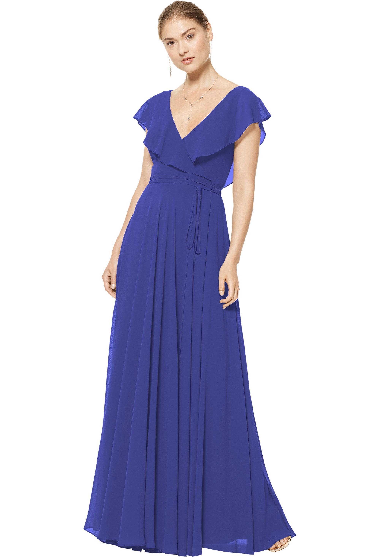 Bill Levkoff MARINE Chiffon V-neck A-line gown, $178.00 Front