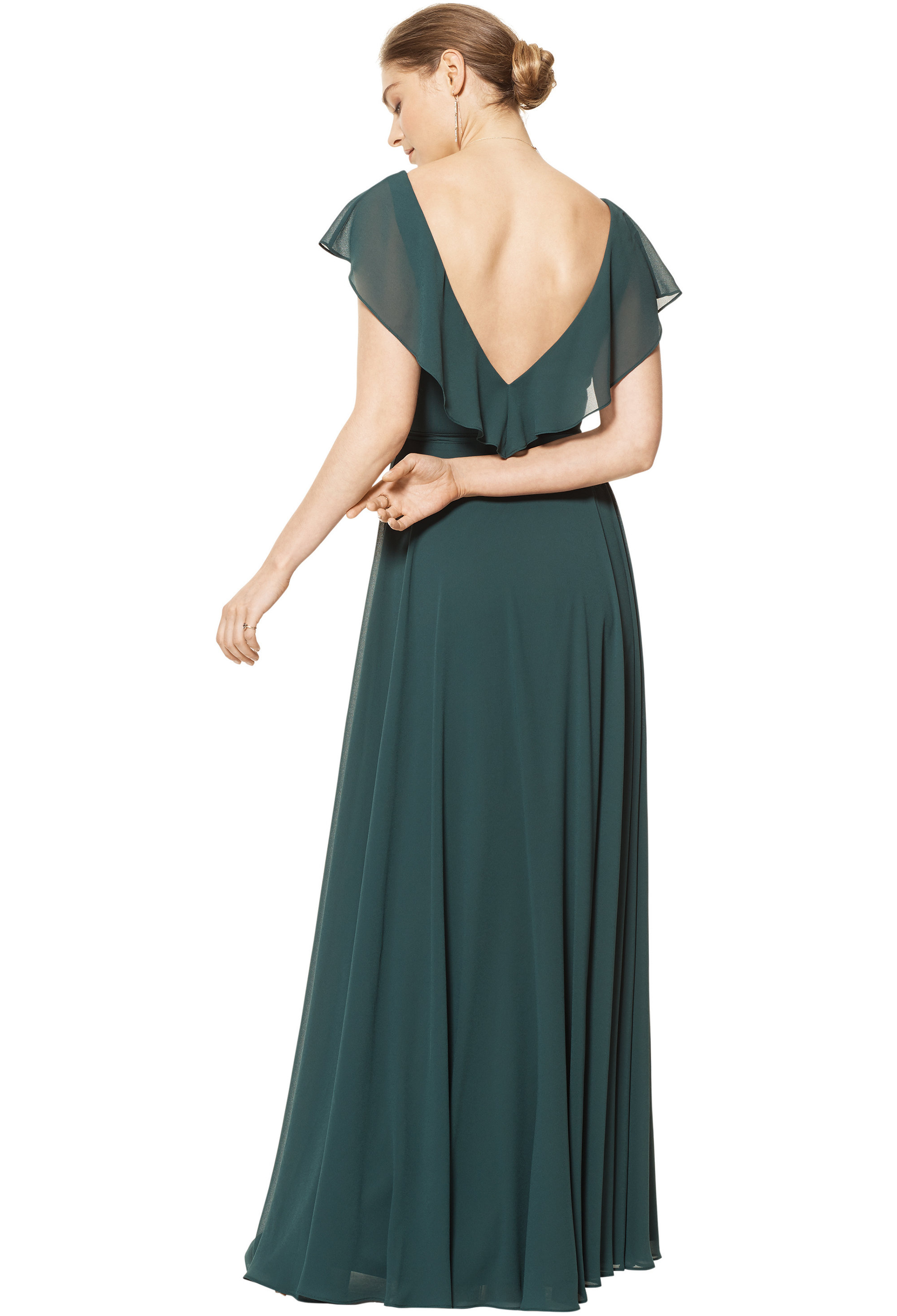 Bill Levkoff HORIZON Chiffon V-neck A-line gown, $178.00 Back