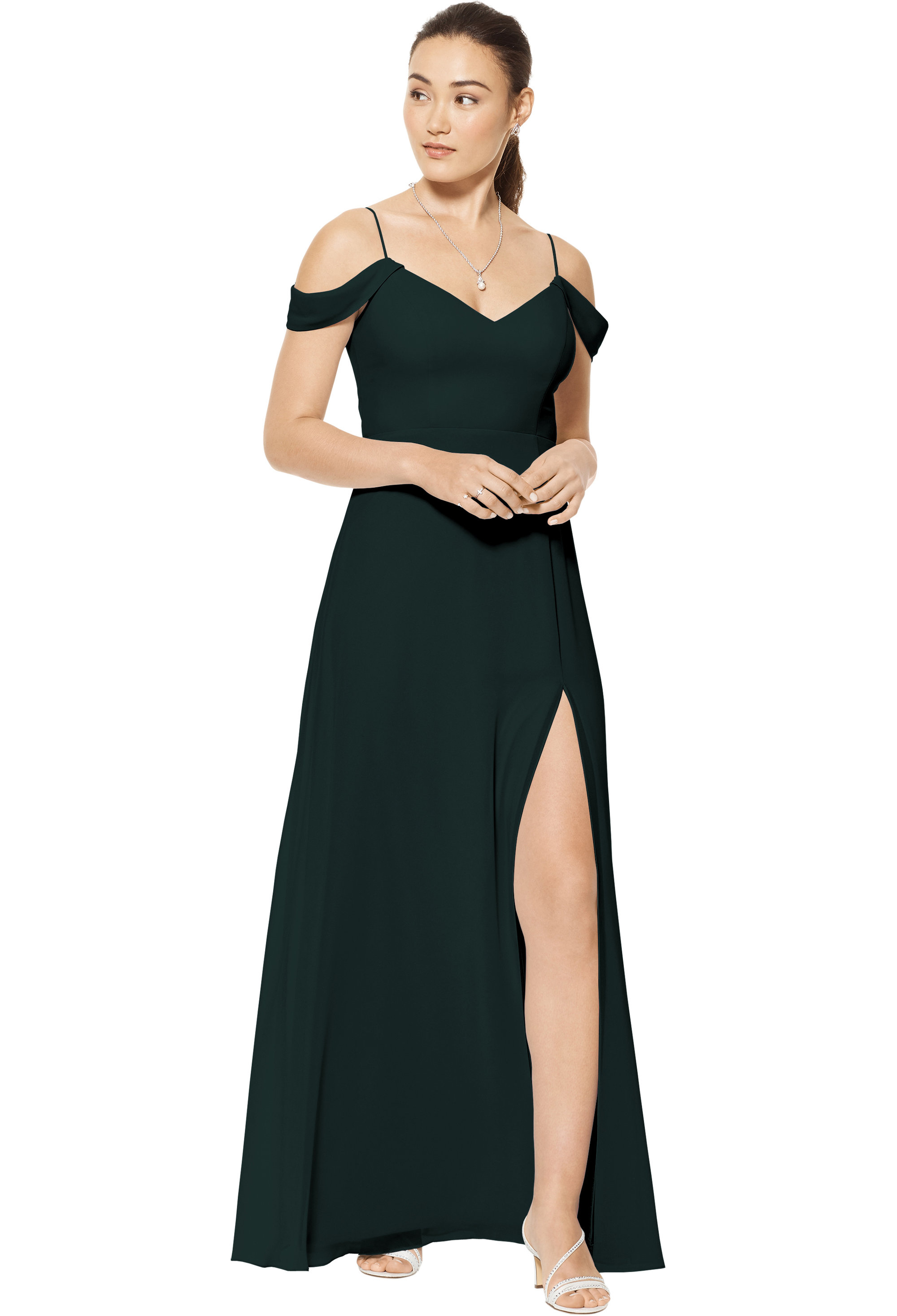 Bill Levkoff EVERGREEN Chiffon Sweetheart A-line gown, $150.00 Front