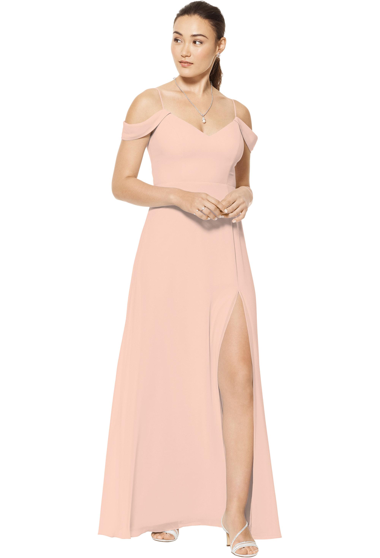 Bill Levkoff PETAL PINK Chiffon Sweetheart A-line gown, $150.00 Front
