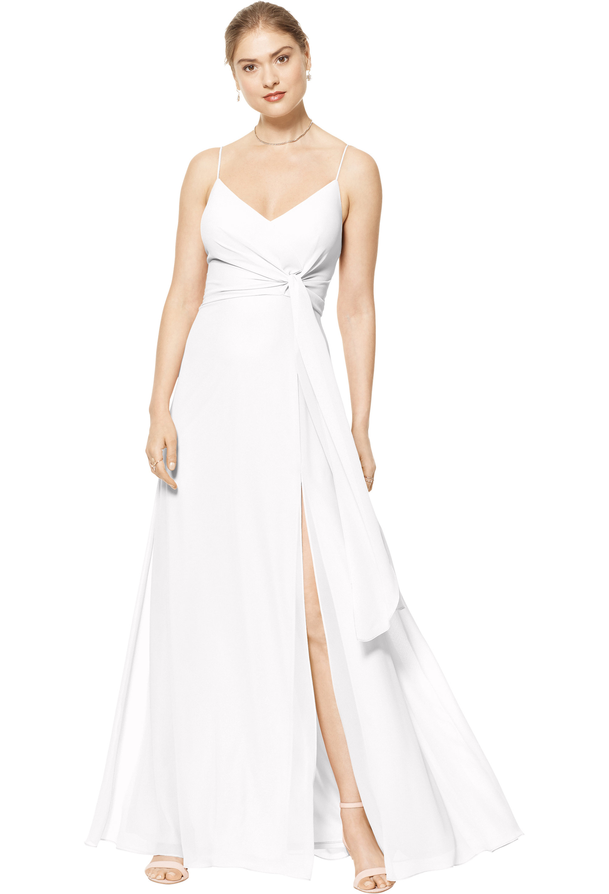 Bill Levkoff WHITE Chiffon V-neck A-line gown, $170.00 Front