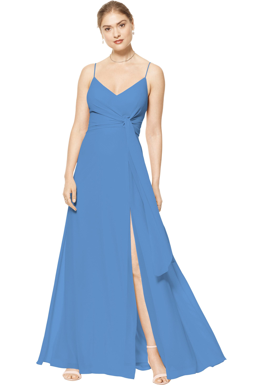 Bill Levkoff CORNFLOWER Chiffon V-neck A-line gown, $170.00 Front