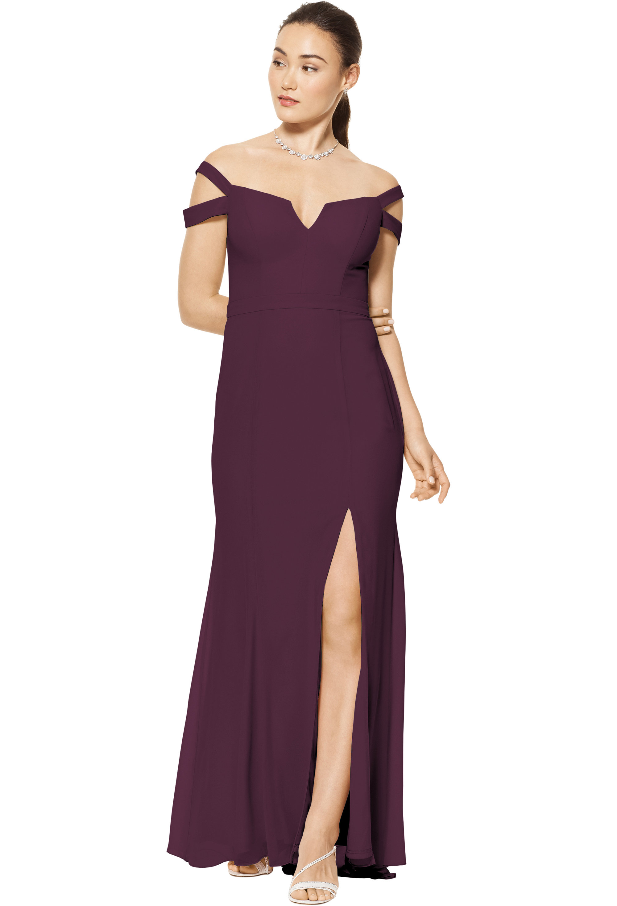 Bill Levkoff EGGPLANT Chiffon Off The Shoulder A-line gown, $158.00 Front