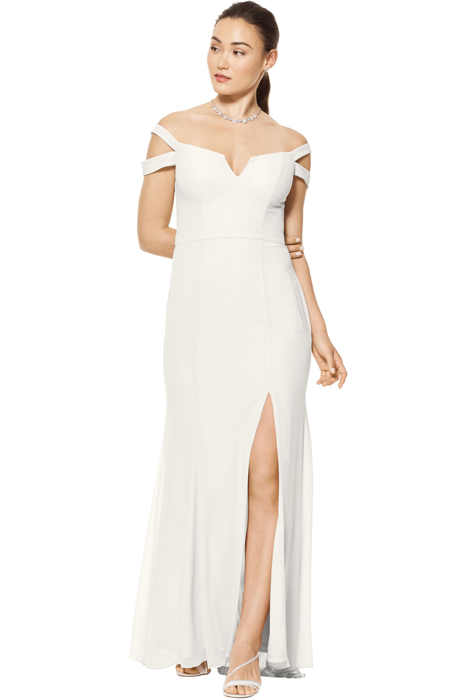 Bill Levkoff DESERT GREY Chiffon Off The Shoulder A-line gown, $158.00 Front