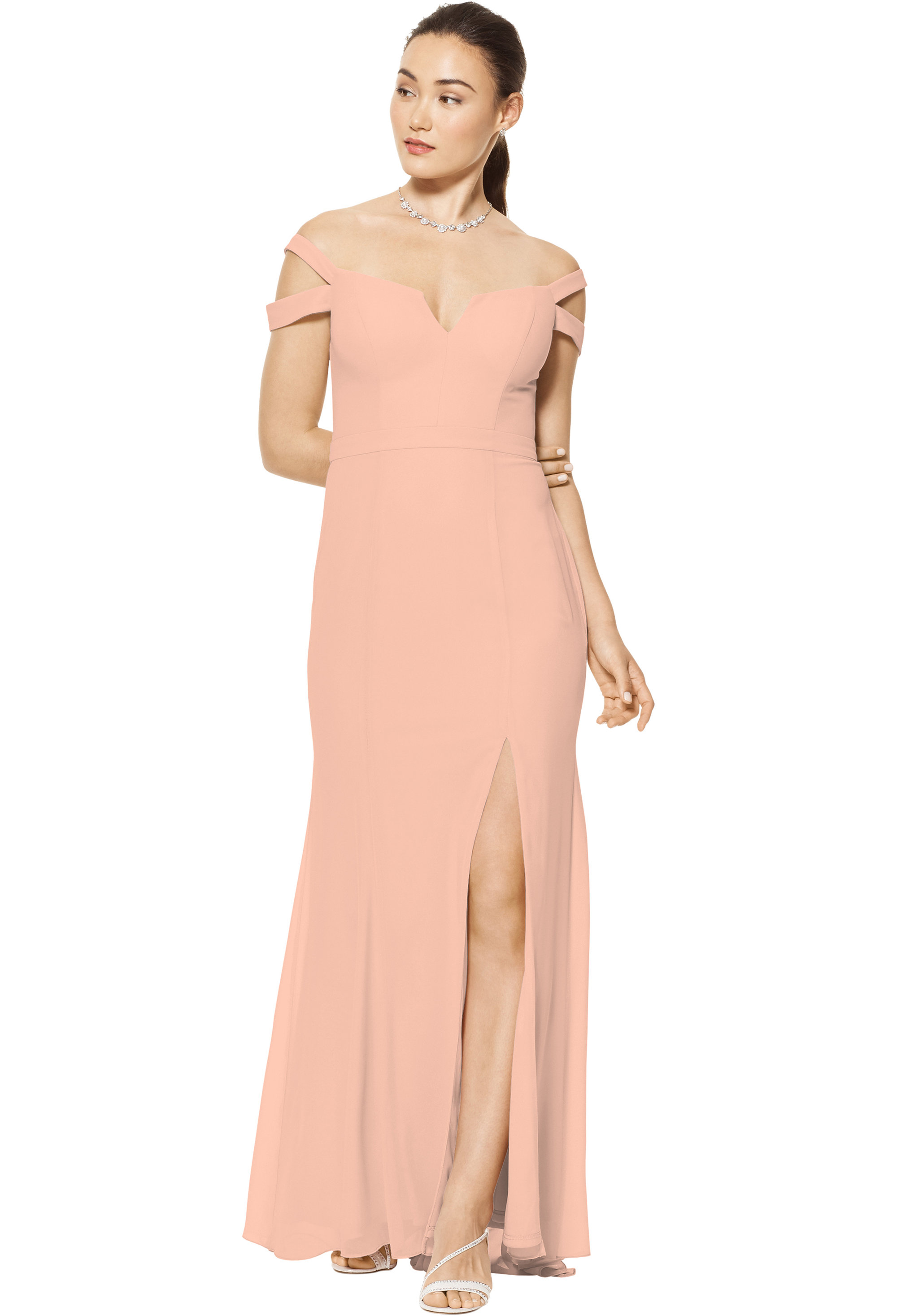 Bill Levkoff PEACH Chiffon Off The Shoulder A-line gown, $158.00 Front