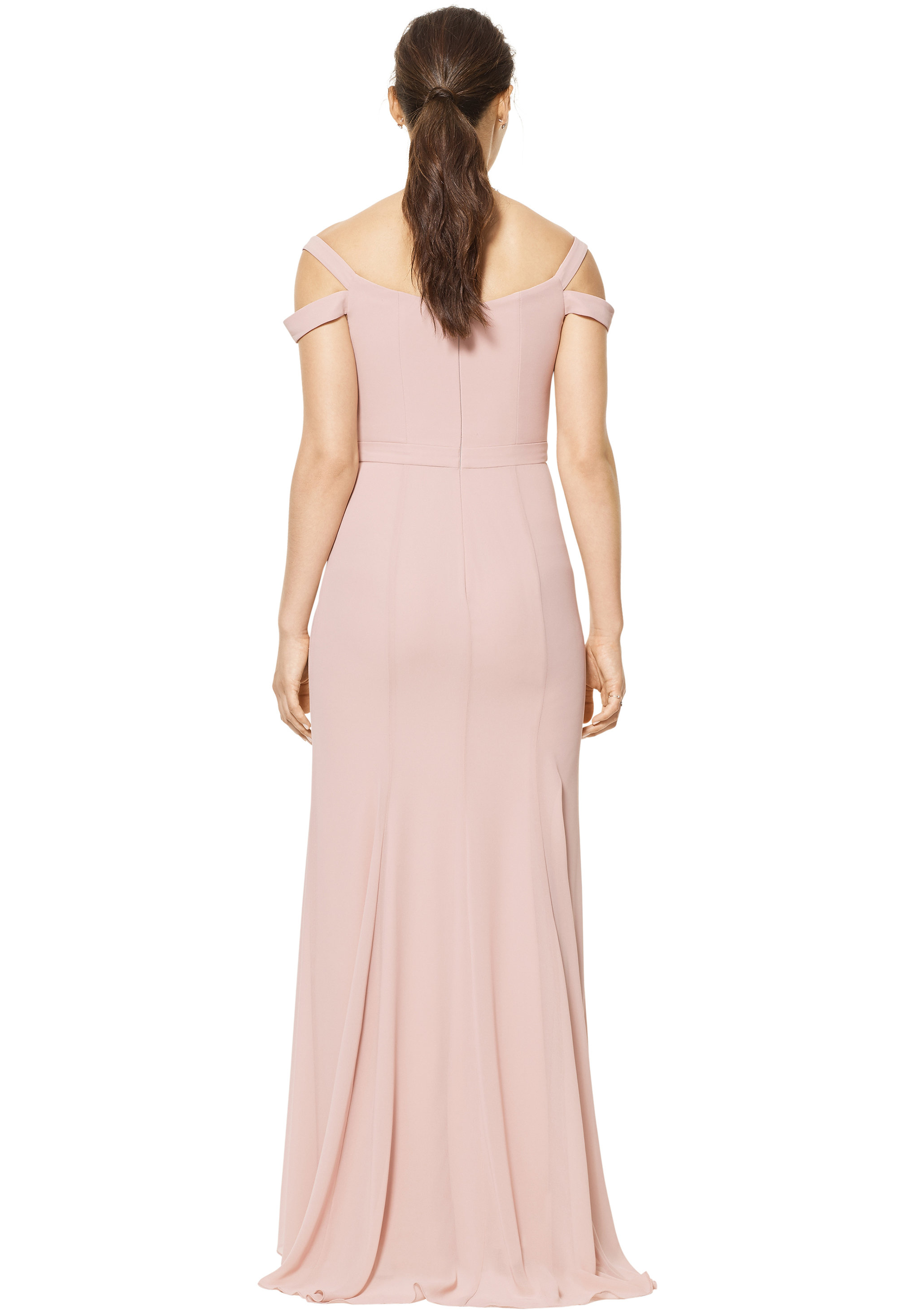 Bill Levkoff RUST Chiffon Off The Shoulder A-line gown, $158.00 Back