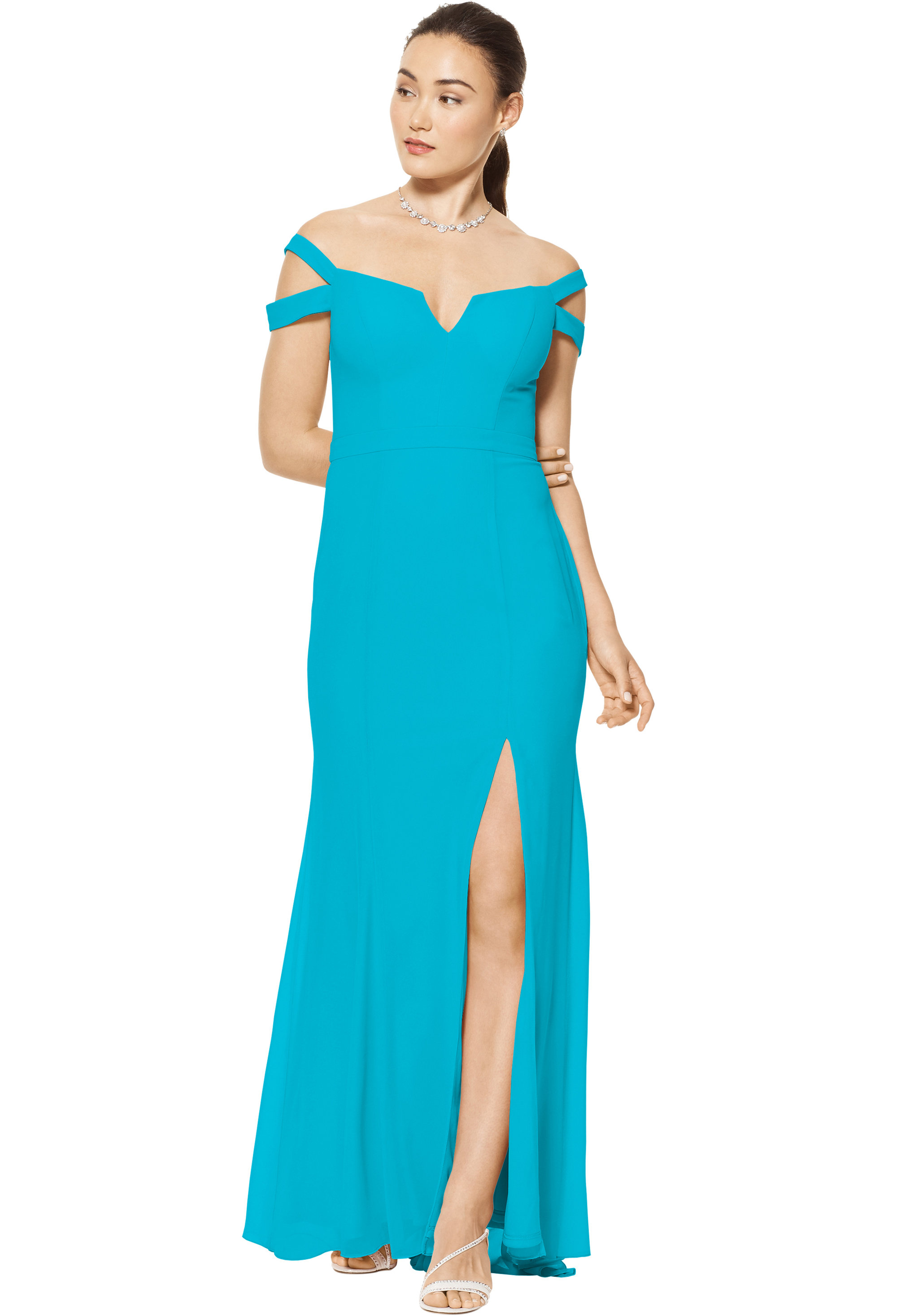Bill Levkoff OASIS Chiffon Off The Shoulder A-line gown, $158.00 Front