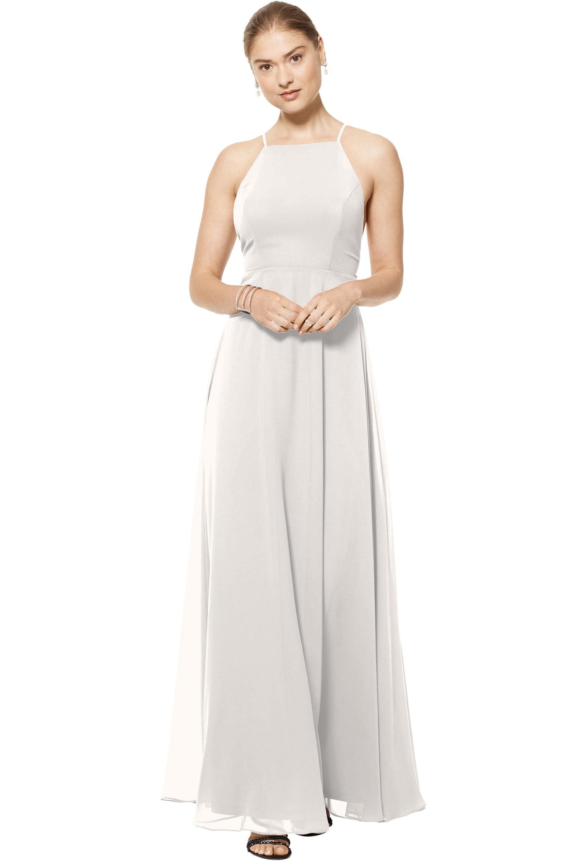Bill Levkoff IVORY Chiffon Spaghetti Strap A-line gown, $150.00 Front