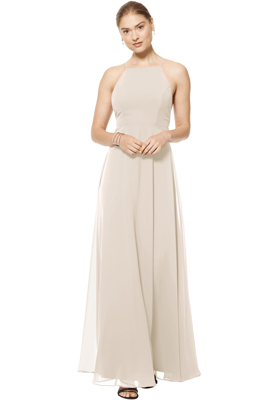 Bill Levkoff CHAMPAGNE Chiffon Spaghetti Strap A-line gown, $150.00 Front