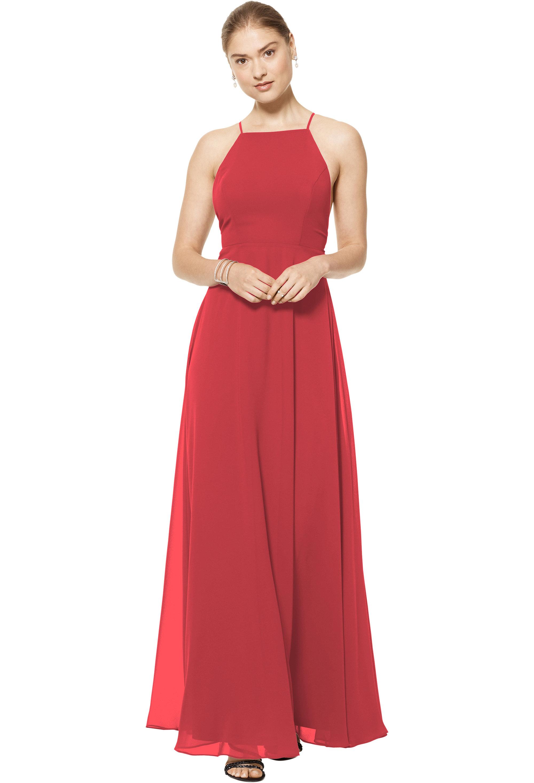 Bill Levkoff CHERRY Chiffon Spaghetti Strap A-line gown, $150.00 Front