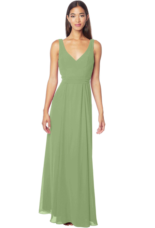 Bill Levkoff PISTACHIO Chiffon Sleeveless A-line gown, $178.00 Front