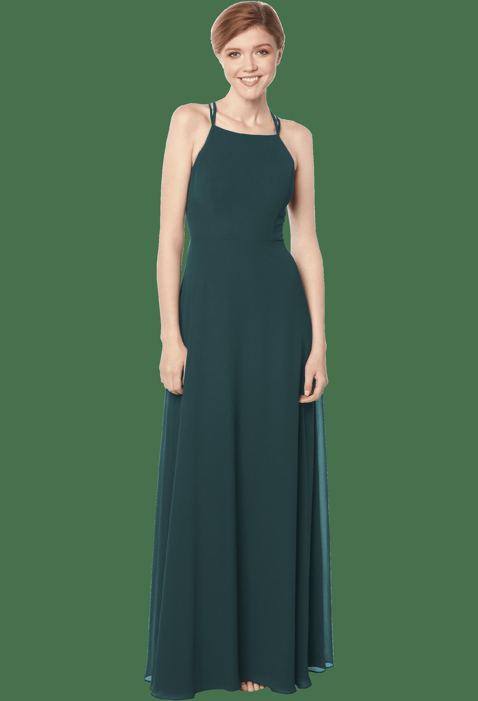 Bill Levkoff EVERGREEN Chiffon Spaghetti Strap A-line gown, $178.00 Front