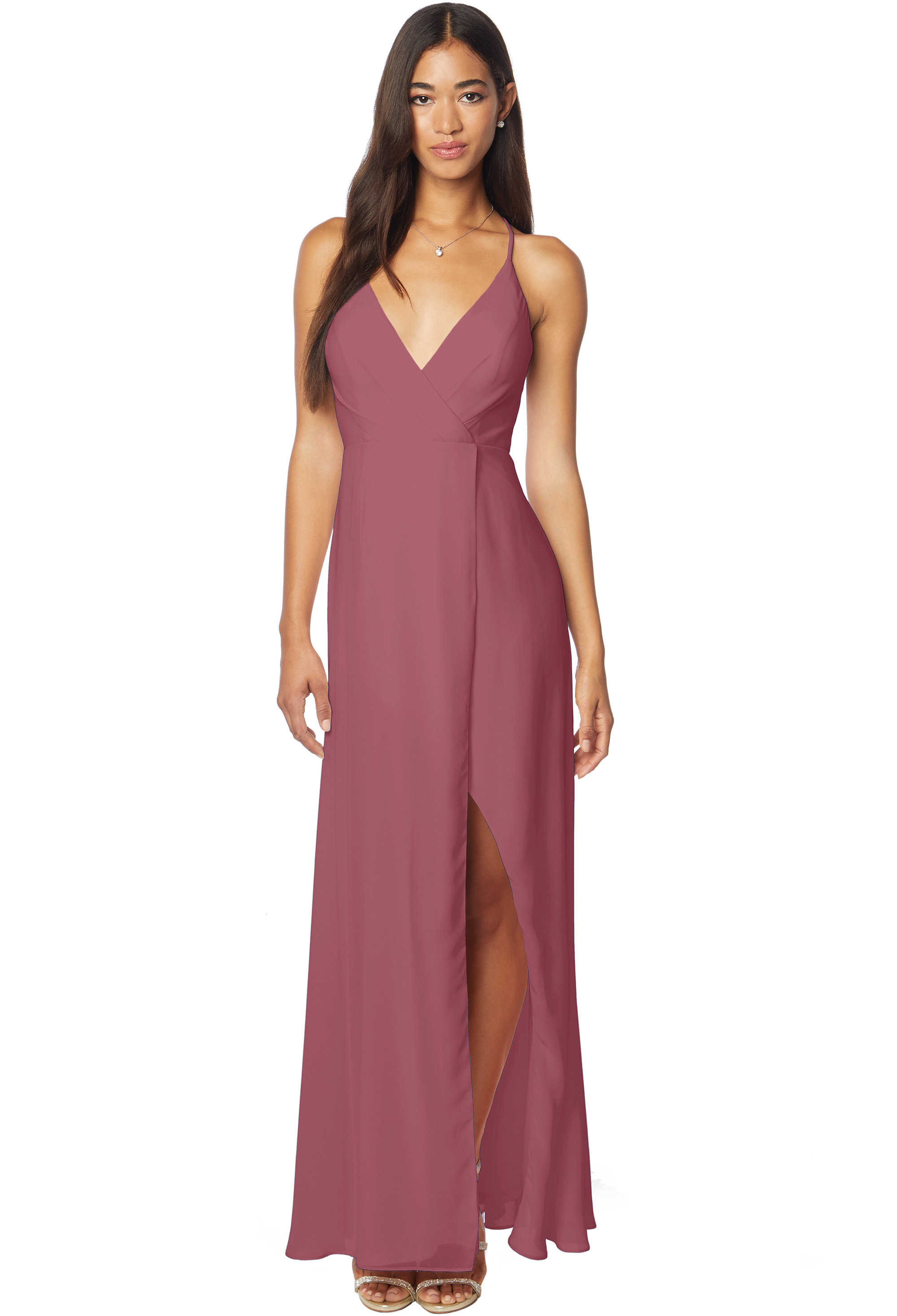Bill Levkoff ROSEWOOD Chiffon V-neck A-line gown, $170.00 Front