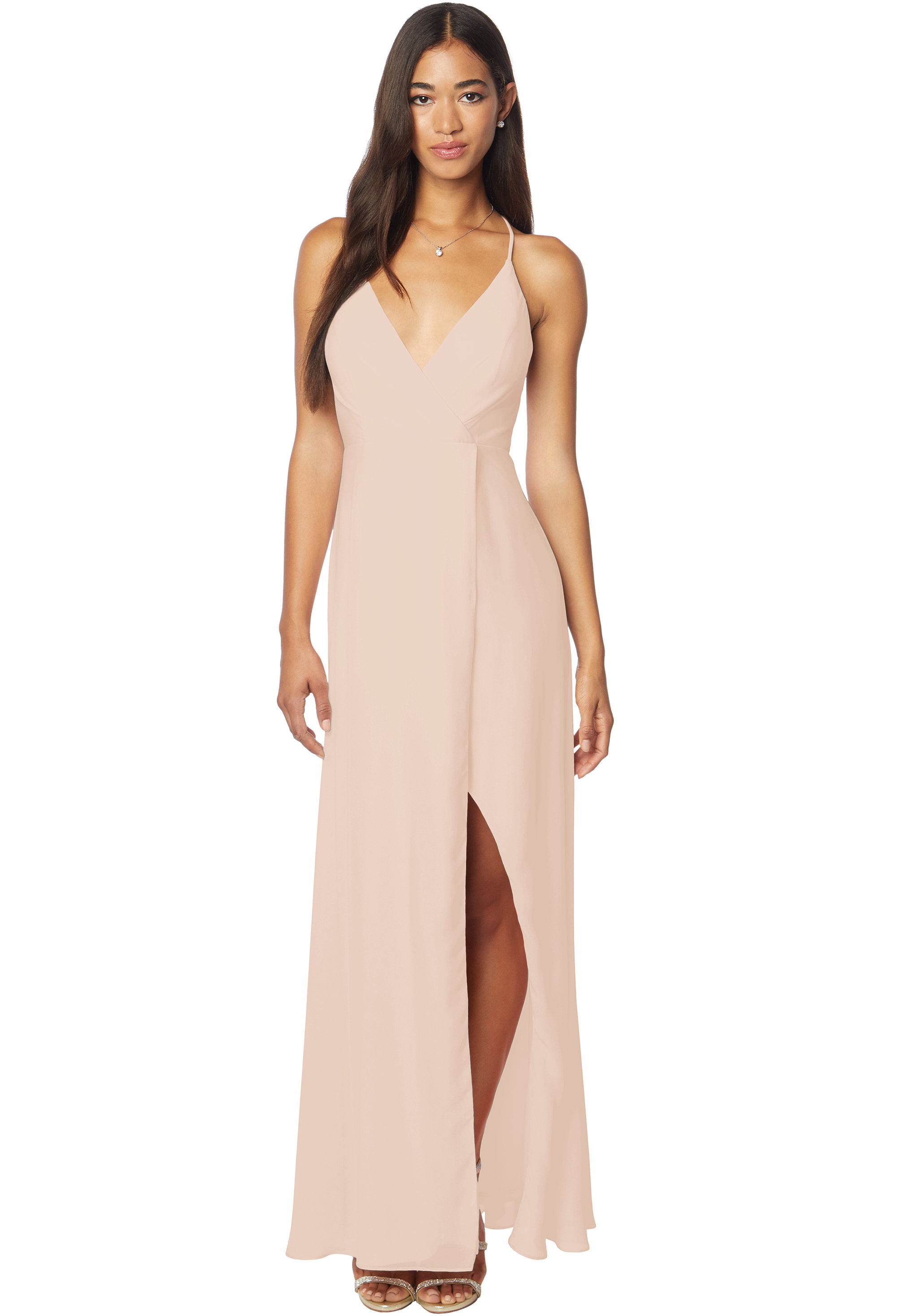 Bill Levkoff CASHMERE Chiffon V-neck A-line gown, $170.00 Front