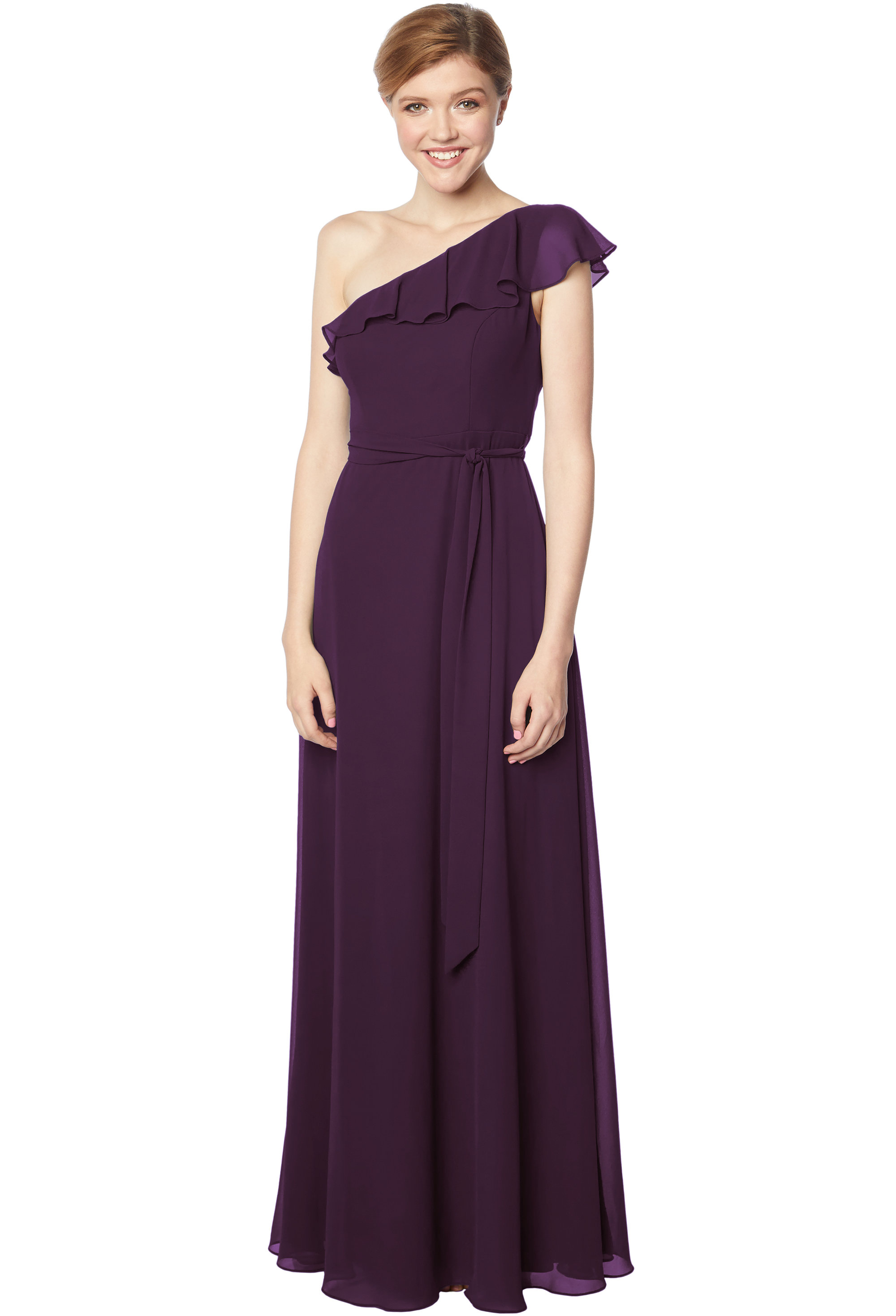 Bill Levkoff PLUM Chiffon One Shoulder A-line gown, $178.00 Front