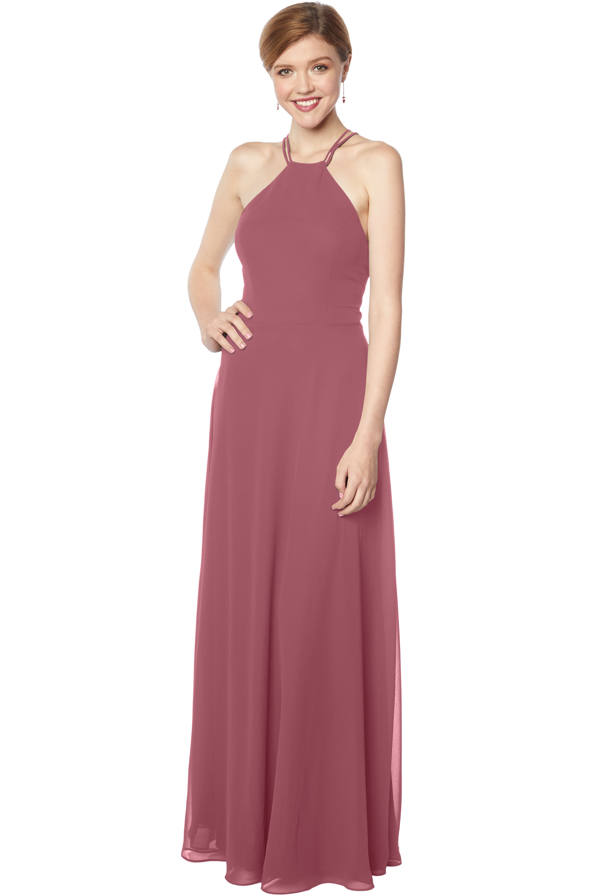 Bill Levkoff ROSEWOOD Chiffon Sleeveless A-line gown, $178.00 Front