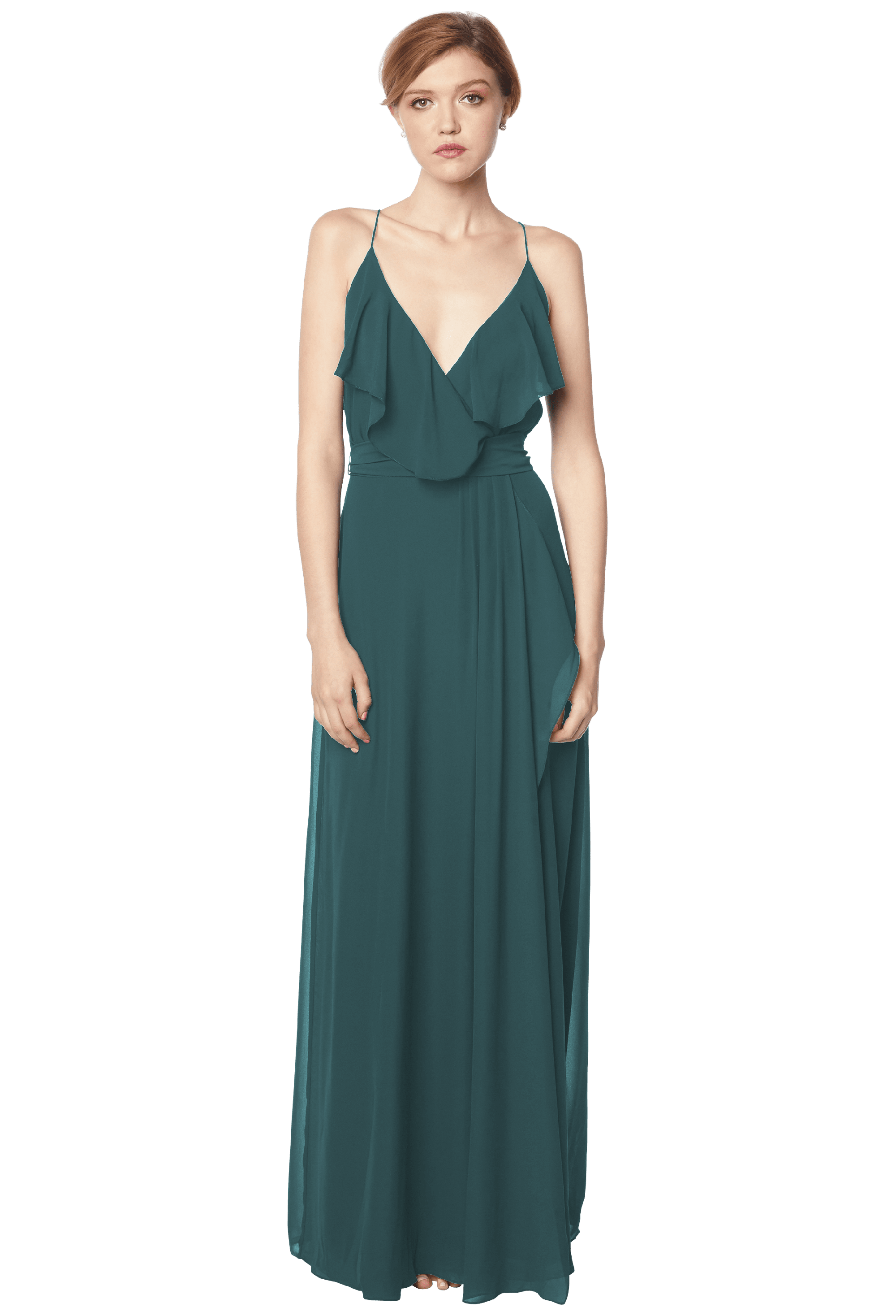 Bill Levkoff EVERGREEN Chiffon V-neck A-line gown, $176.00 Front