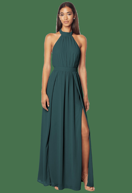 Bill Levkoff EVERGREEN Chiffon Halter A-line gown, $178.00 Front