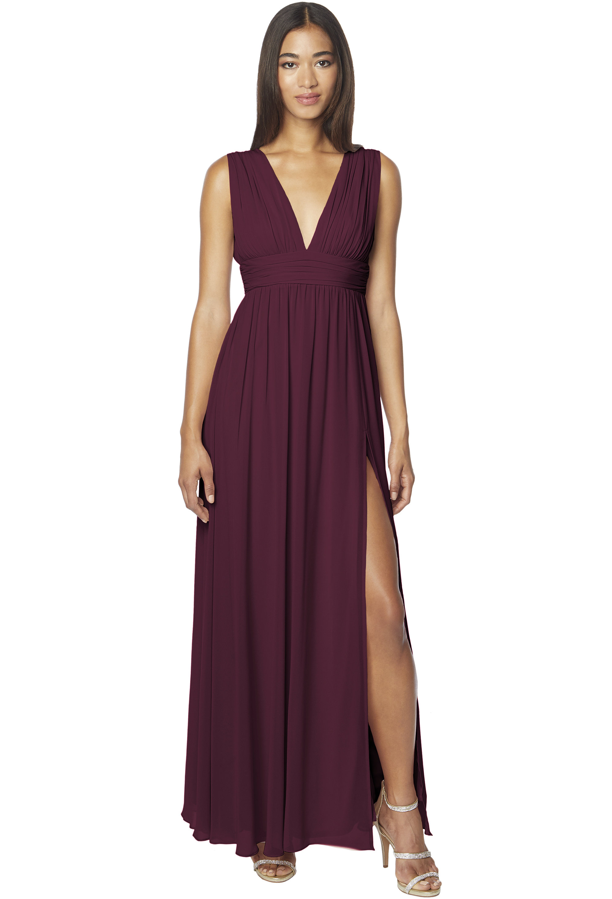 Bill Levkoff WINE Chiffon Sleeveless A-line gown, $178.00 Front