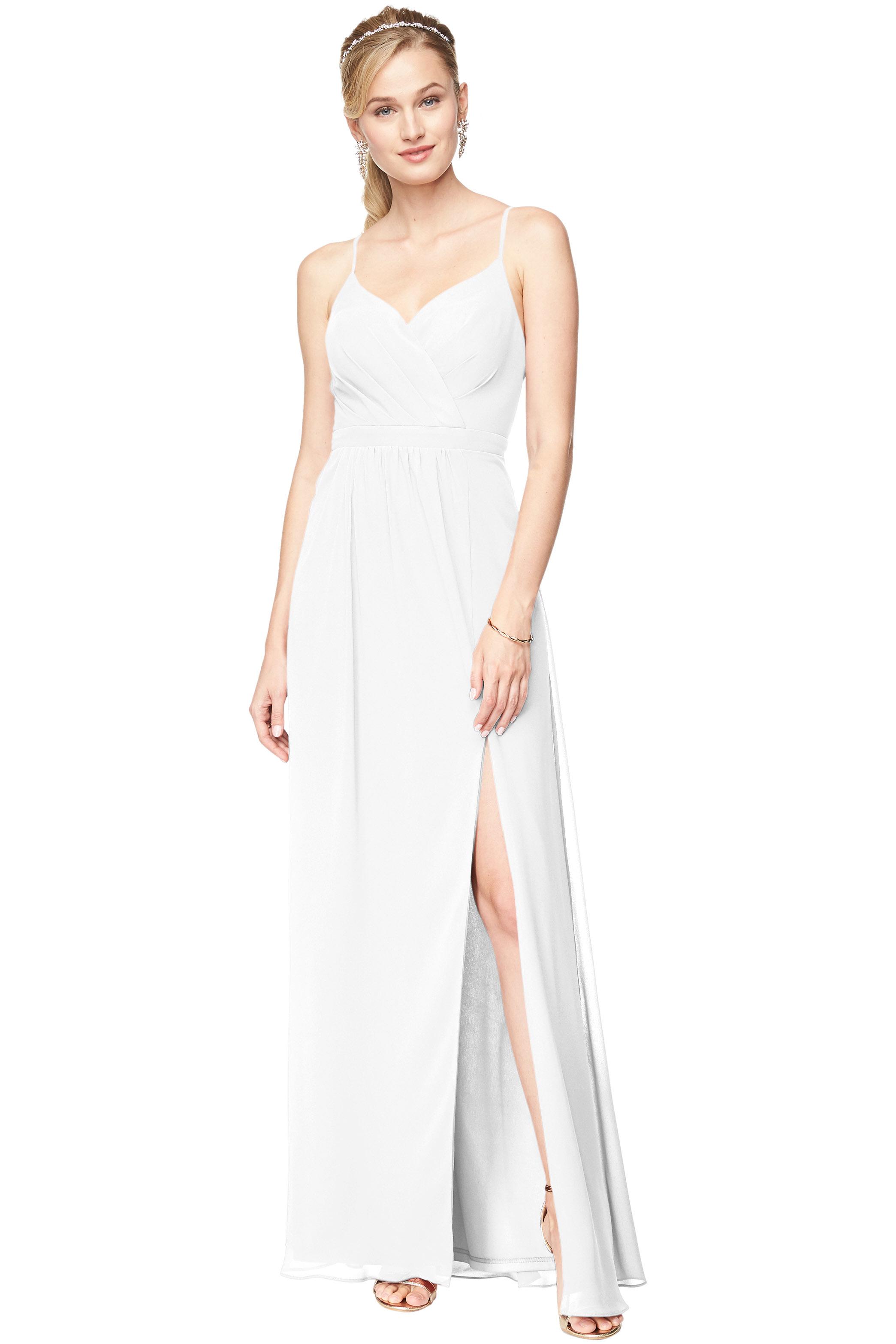 Bill Levkoff WHITE Chiffon Surplice A-Line gown, $178.00 Front