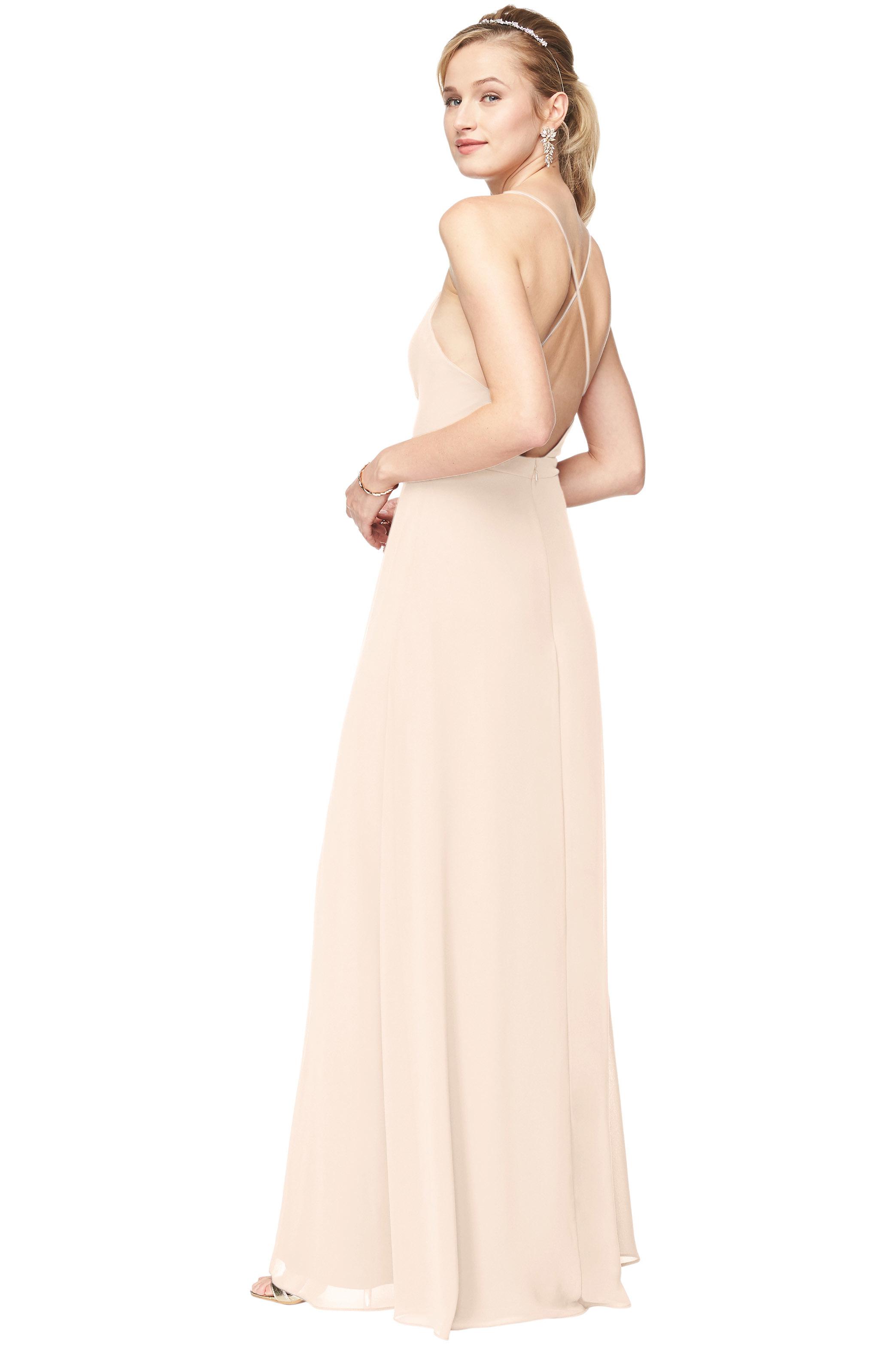 Bill Levkoff IVORY Chiffon Surplice A-Line gown, $178.00 Back