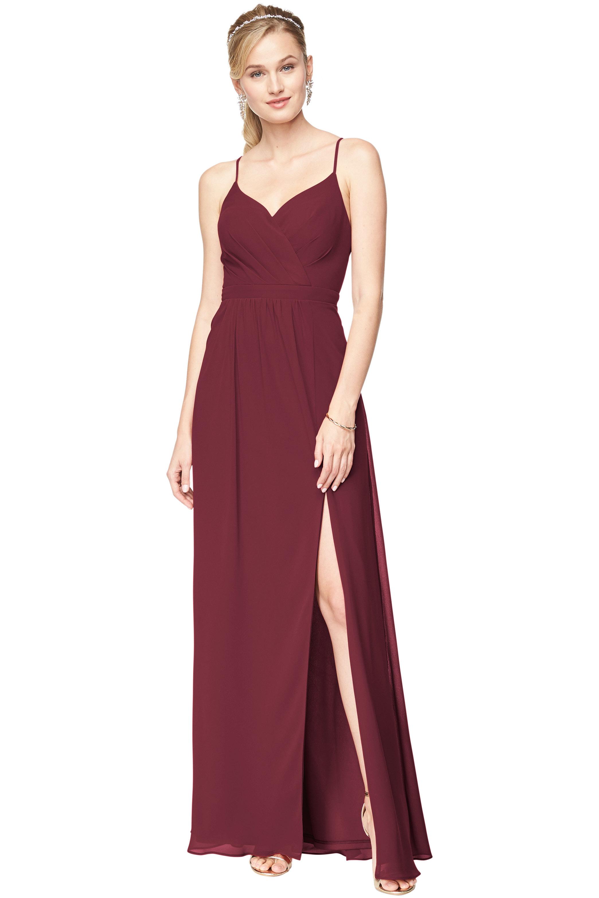 Bill Levkoff WINE Chiffon Surplice A-Line gown, $178.00 Front