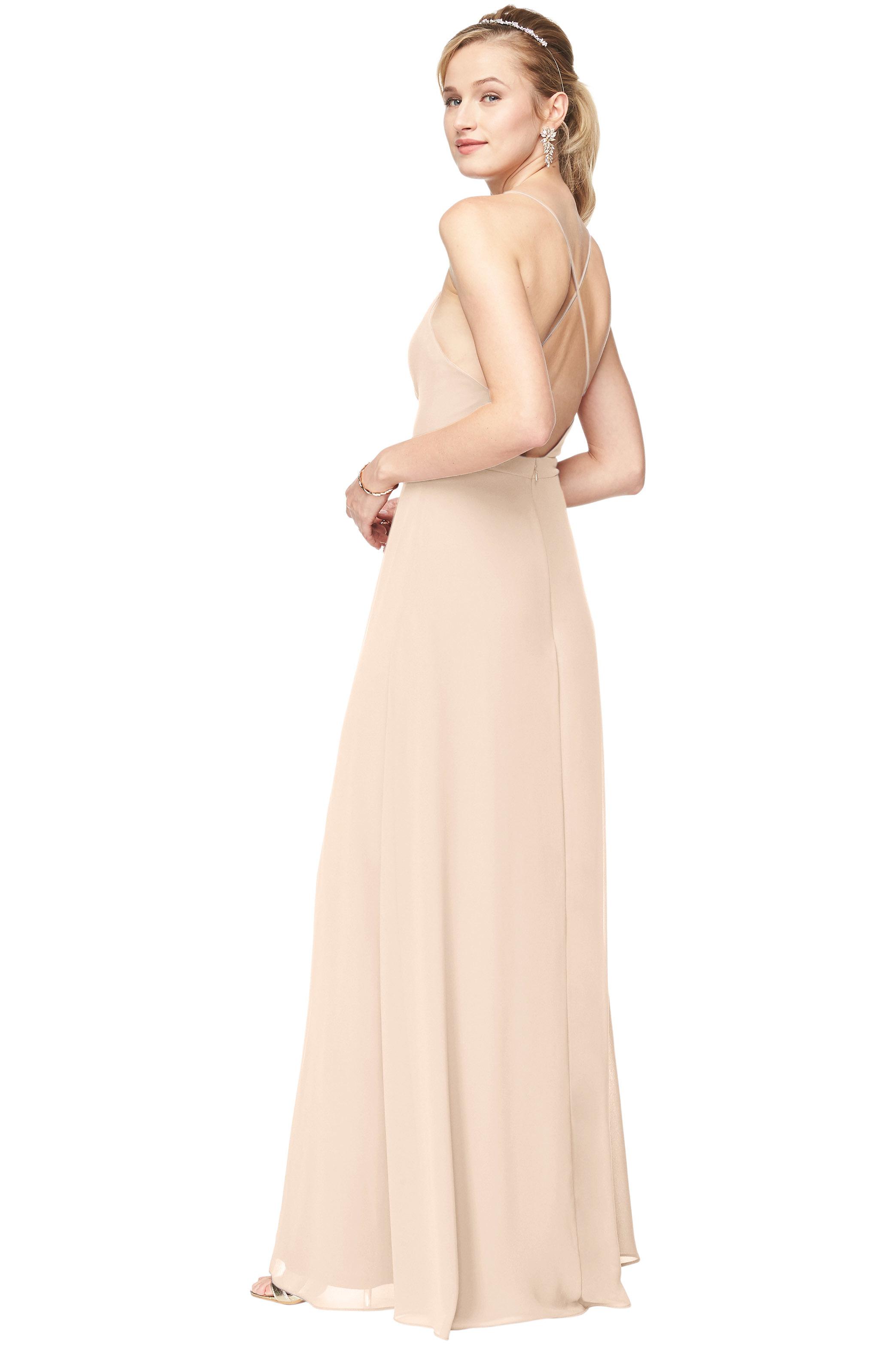Bill Levkoff CHAMPAGNE Chiffon Surplice A-Line gown, $178.00 Back