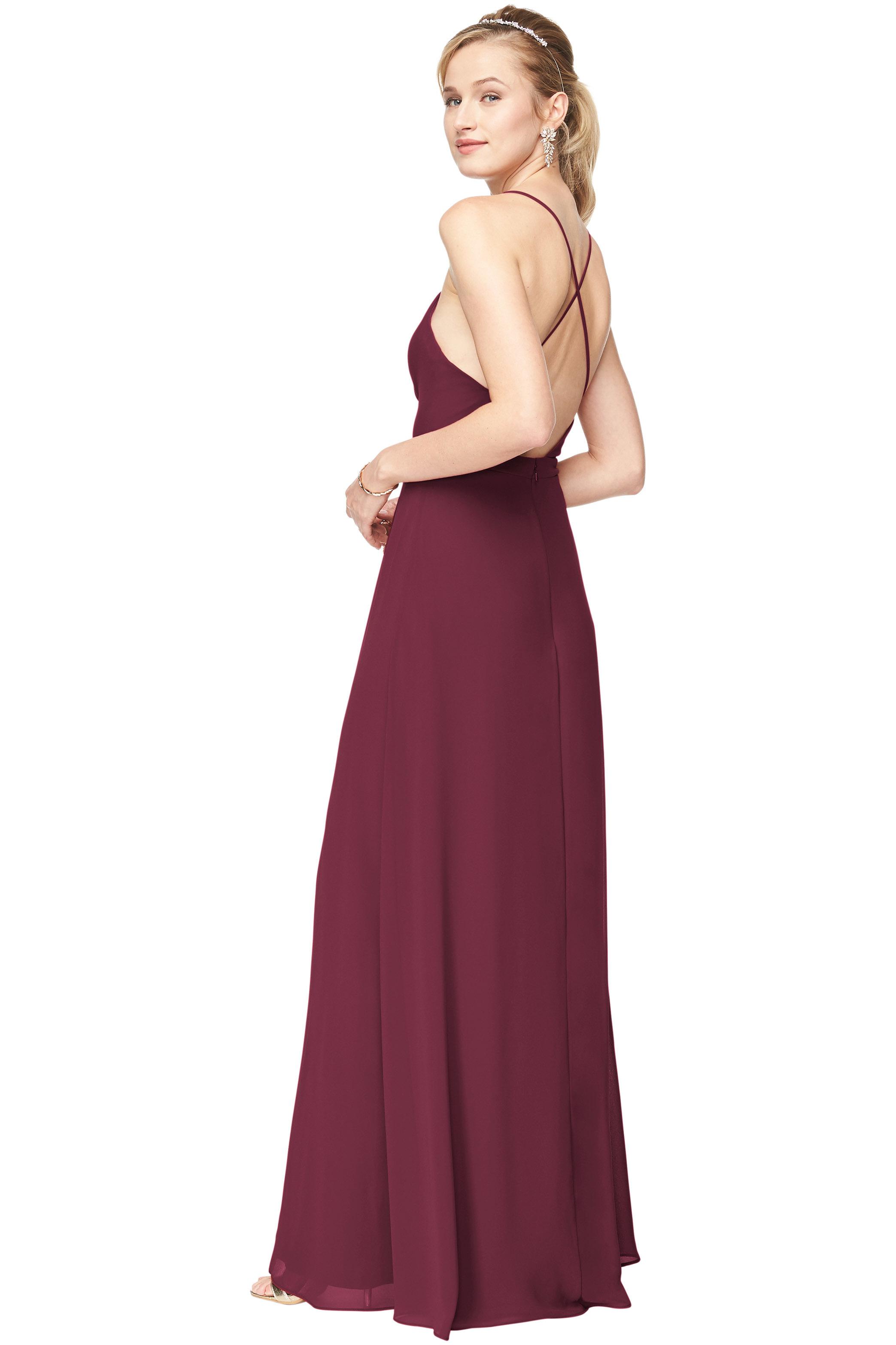 Bill Levkoff SANGRIA Chiffon Surplice A-Line gown, $178.00 Back