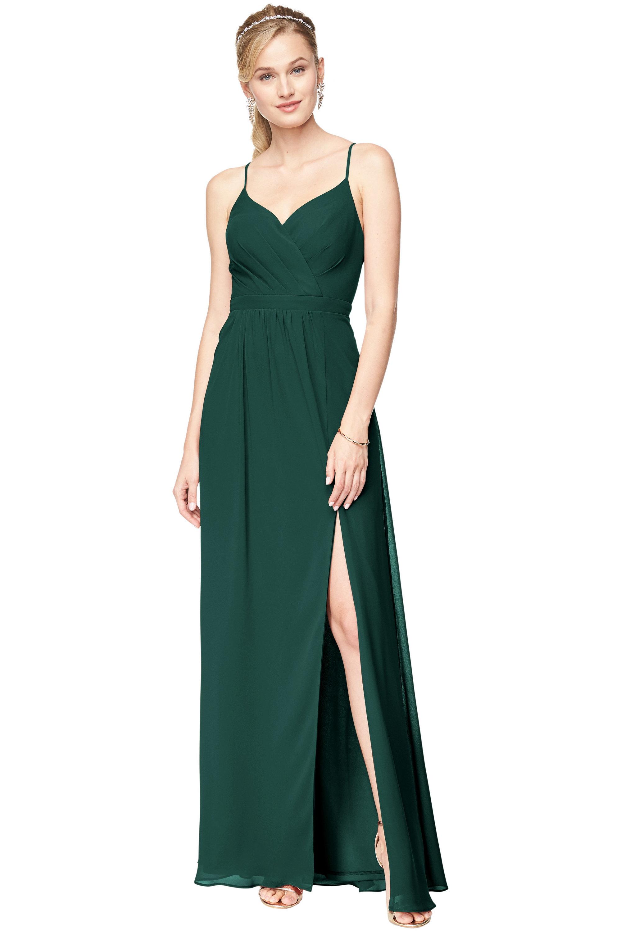 Bill Levkoff EVERGREEN Chiffon Surplice A-Line gown, $178.00 Front