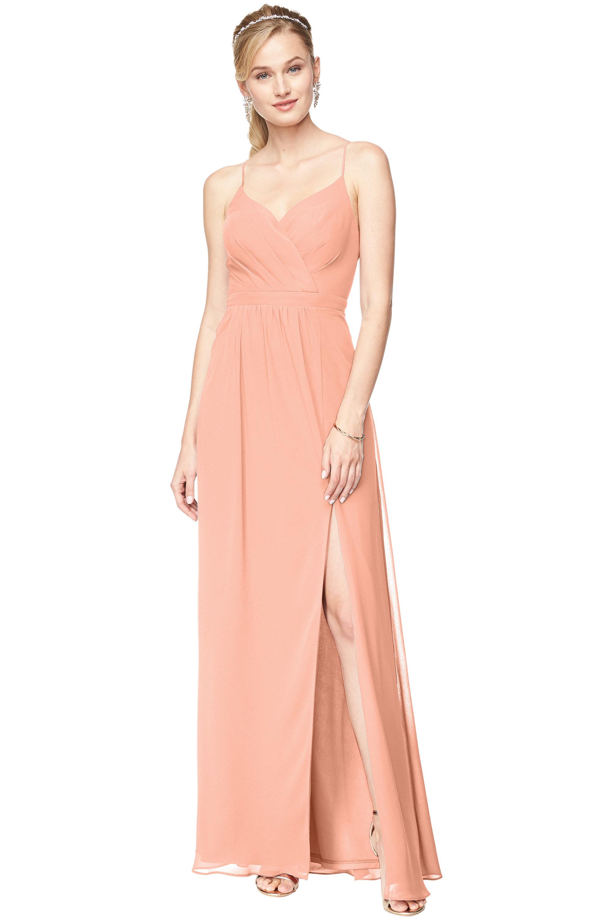 Bill Levkoff PEACH Chiffon Surplice A-Line gown, $178.00 Front