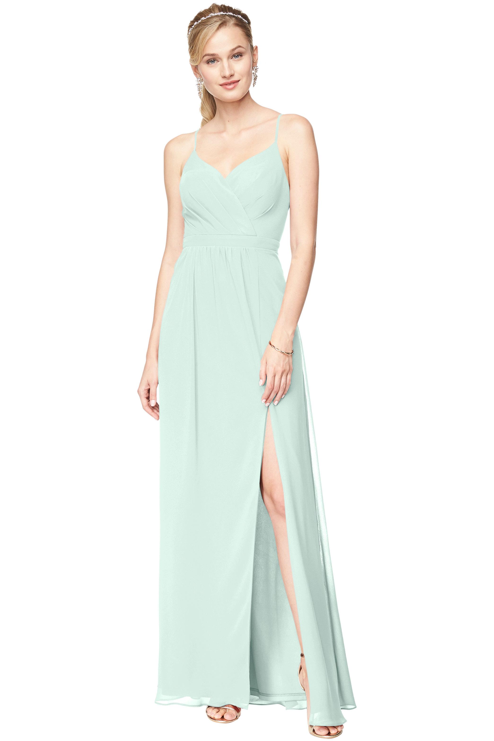 Bill Levkoff SEA FOAM Chiffon Surplice A-Line gown, $178.00 Front