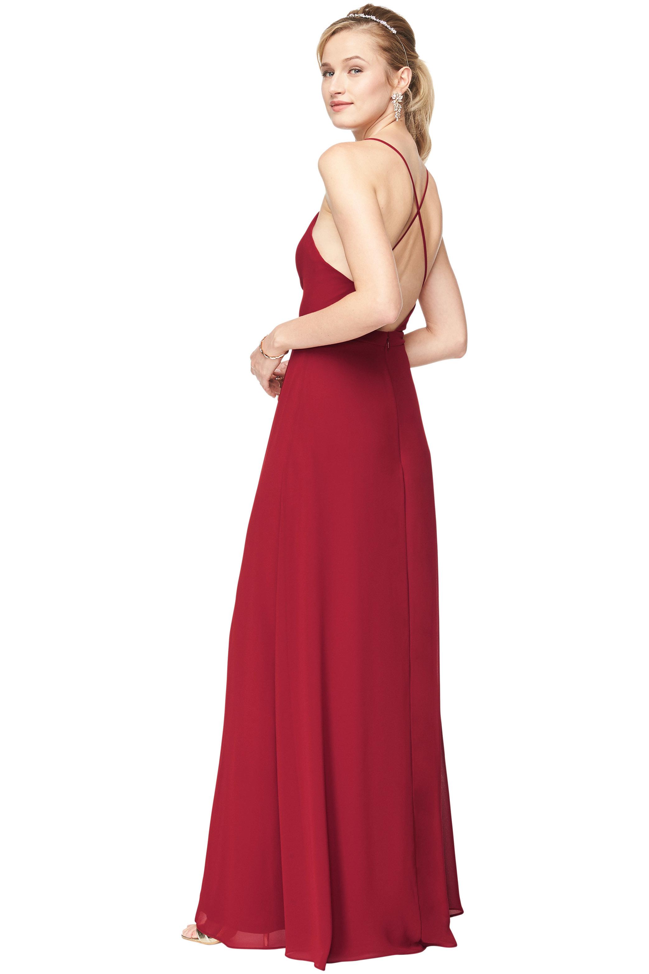 Bill Levkoff CRANBERRY Chiffon Surplice A-Line gown, $178.00 Back