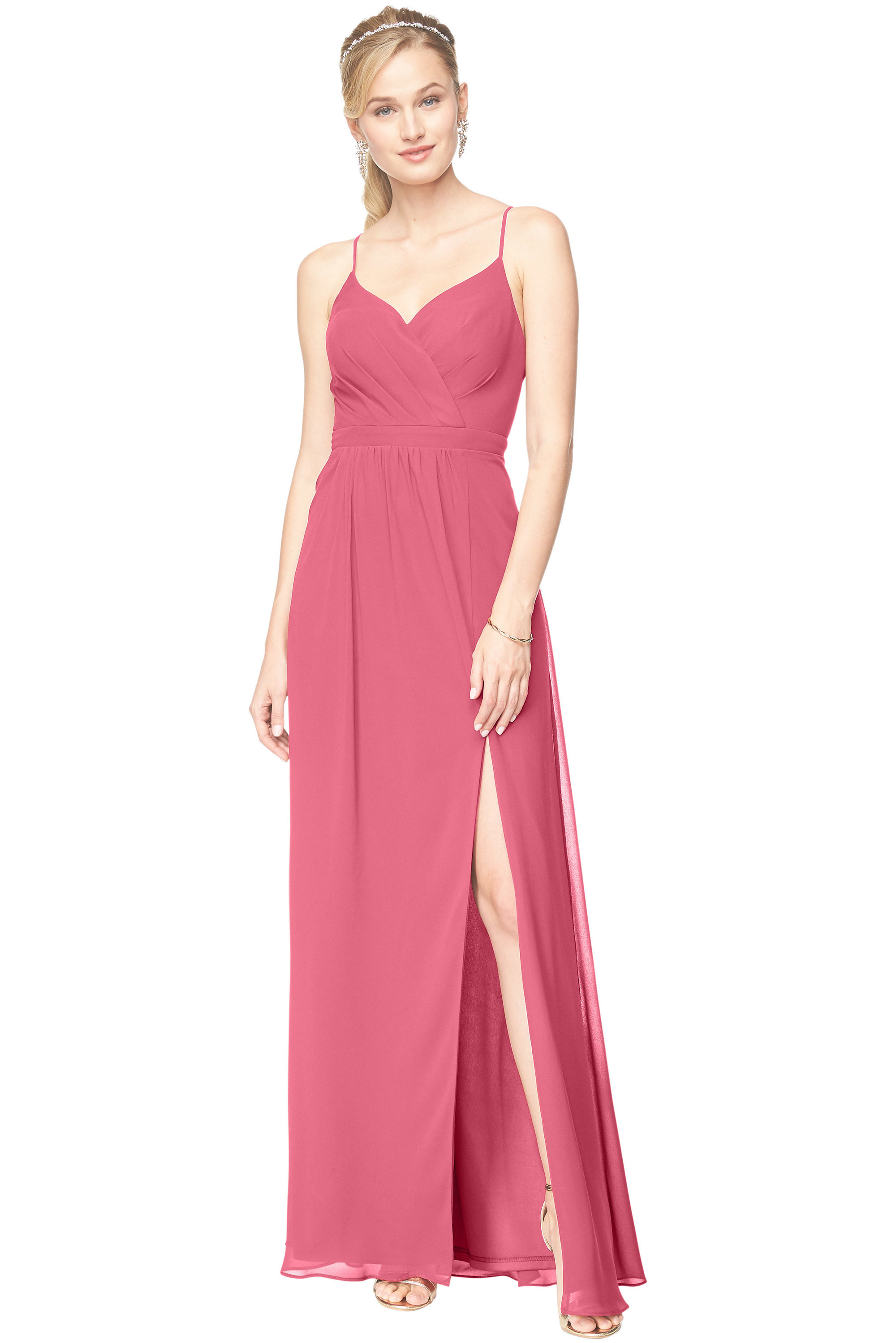 Bill Levkoff ROSEPETAL Chiffon Surplice A-Line gown, $178.00 Front