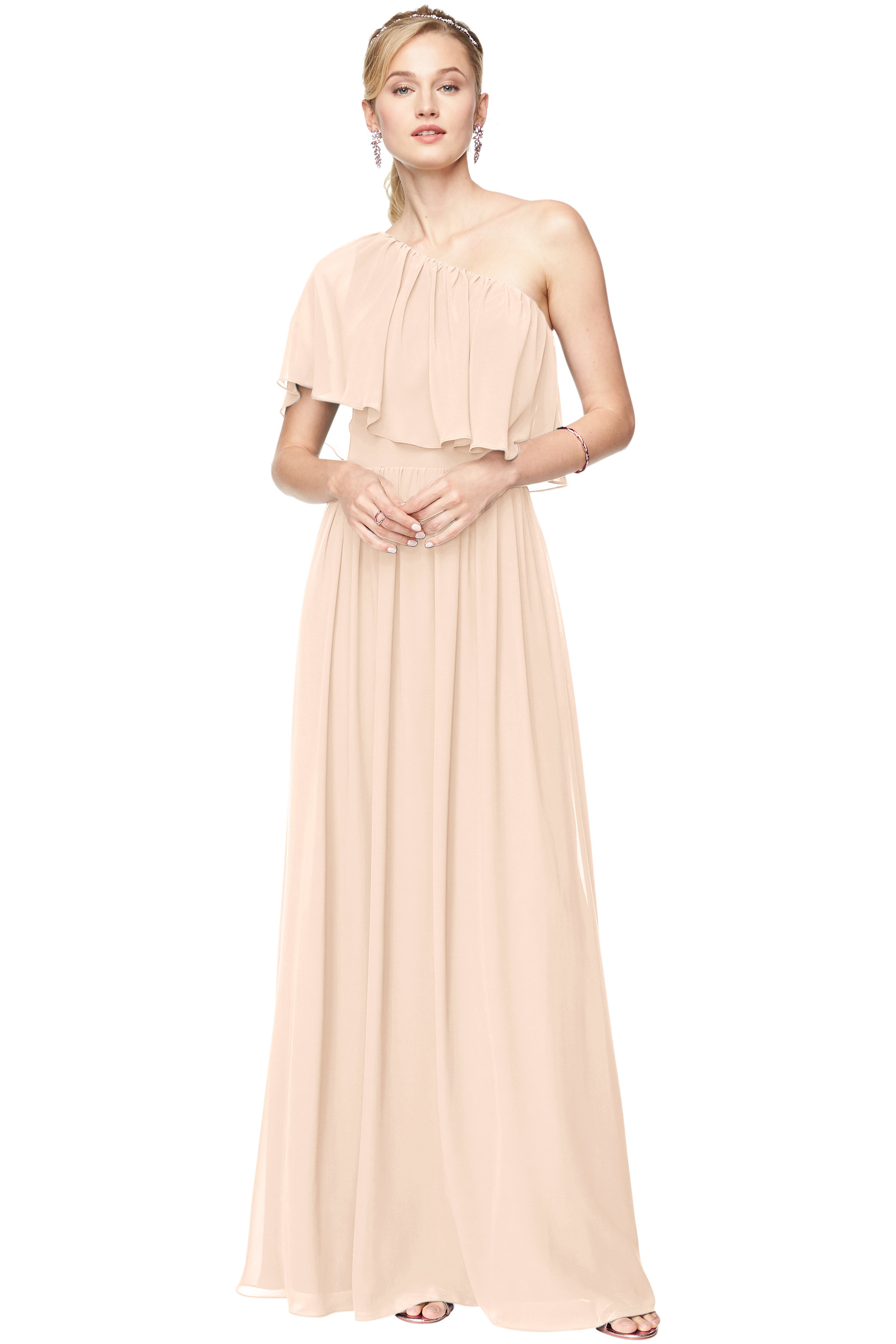 Bill Levkoff CHAMPAGNE Chiffon One-Shoulder A-Line gown, $184.00 Front