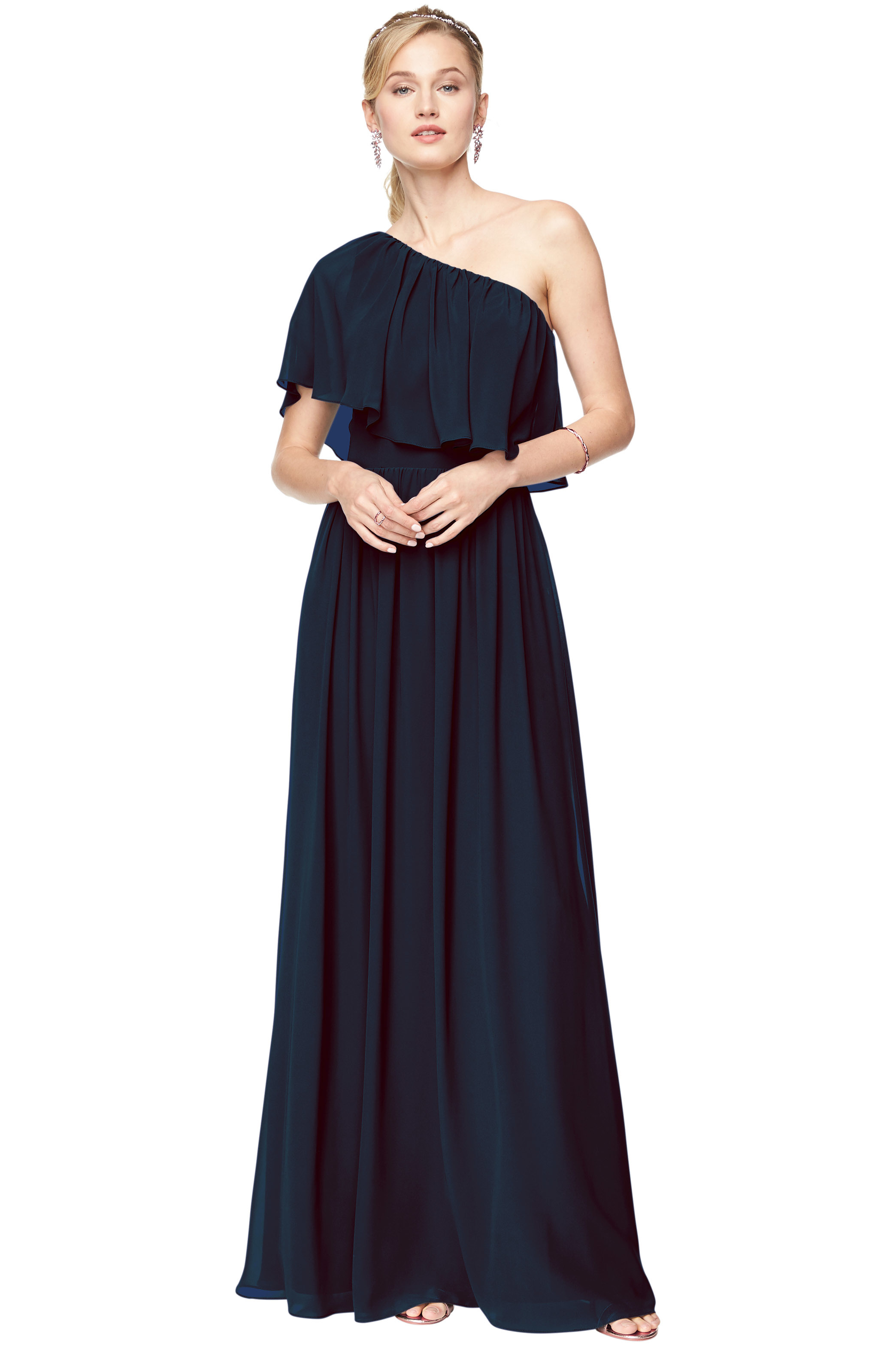 Bill Levkoff NAVY Chiffon One-Shoulder A-Line gown, $156.40 Front