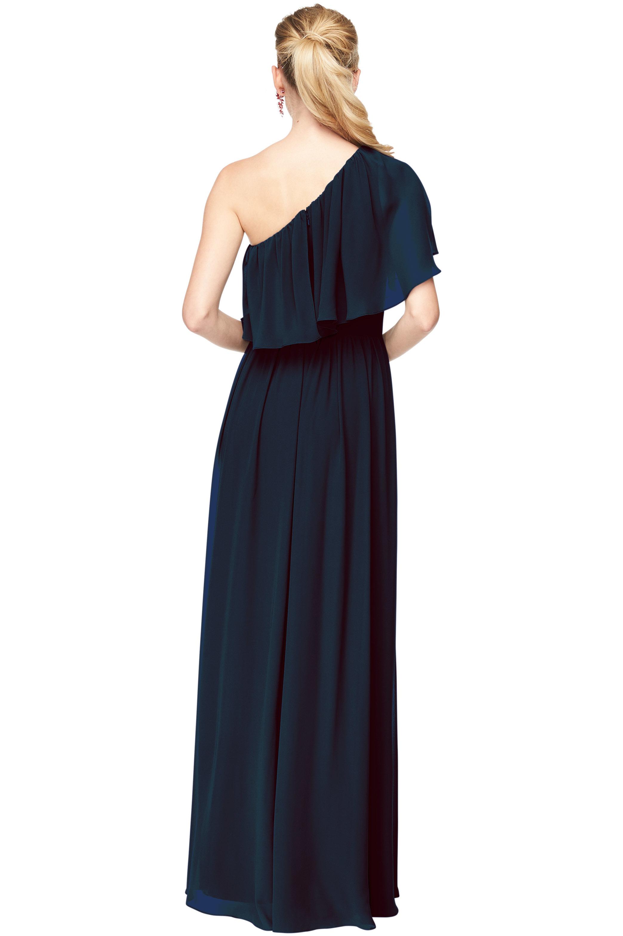 Bill Levkoff NAVY Chiffon One-Shoulder A-Line gown, $156.40 Back