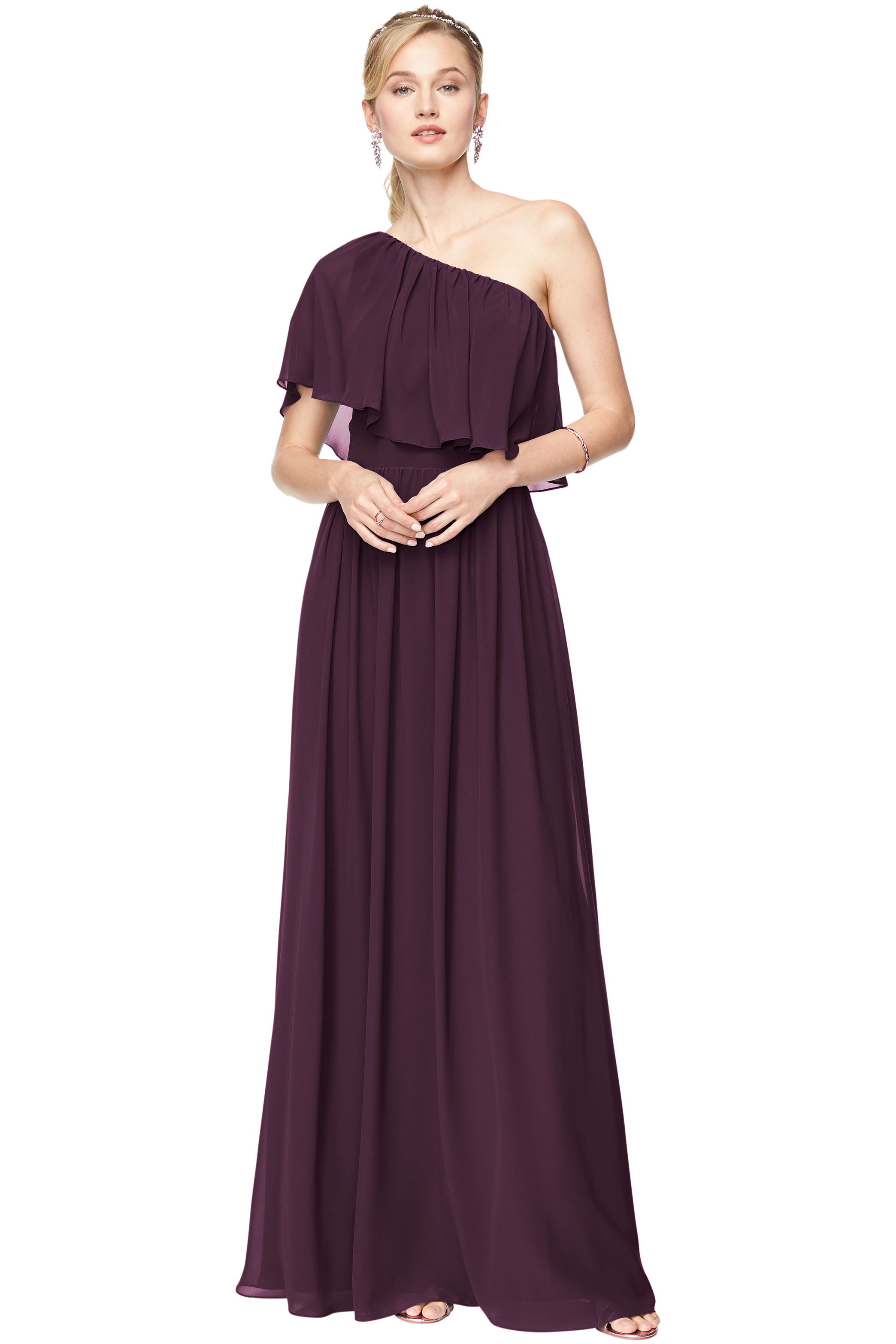 Bill Levkoff PLUM Chiffon One-Shoulder A-Line gown, $184.00 Front