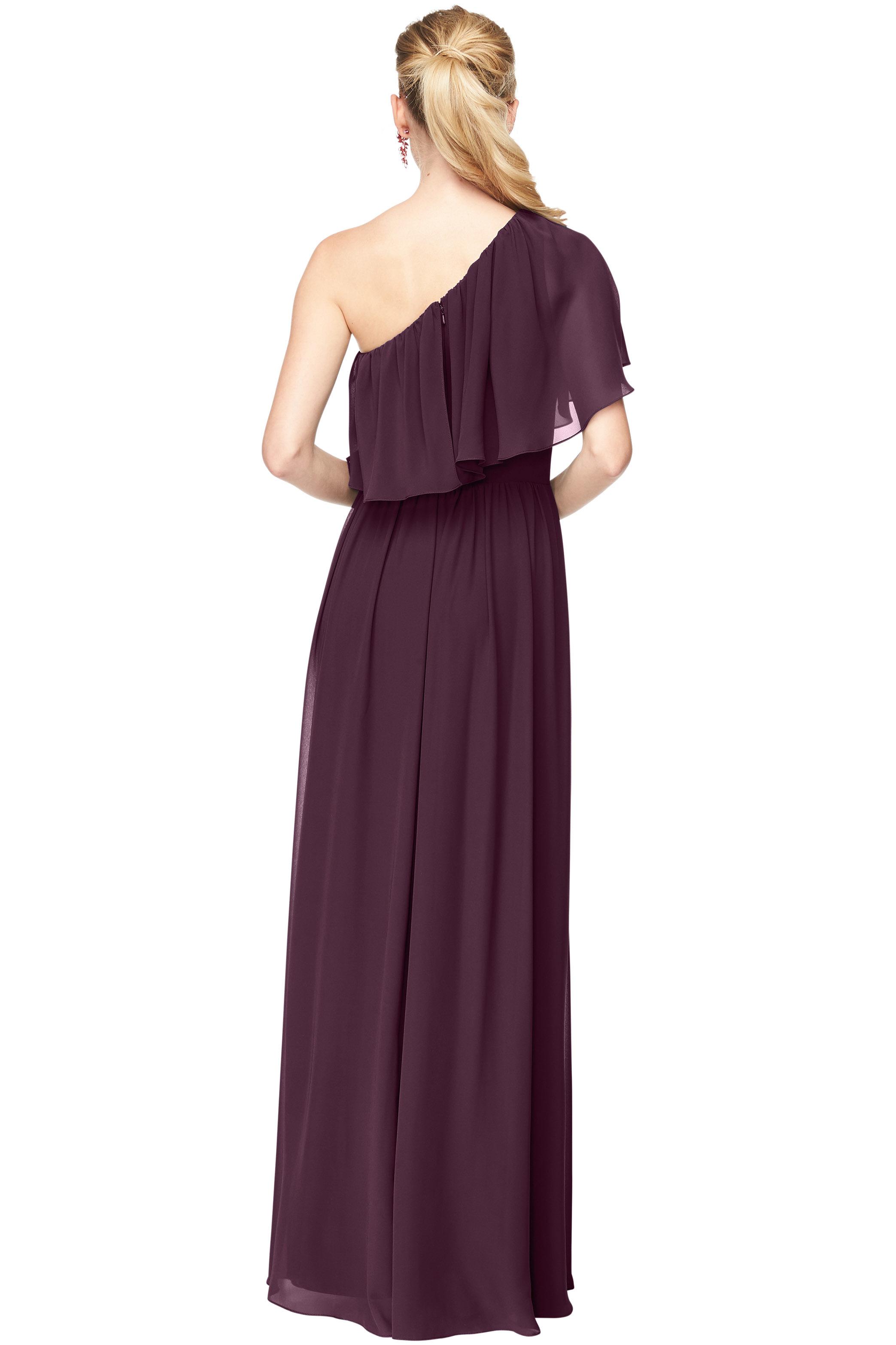 Bill Levkoff EGGPLANT Chiffon One Shoulder A-Line gown, $184.00 Back