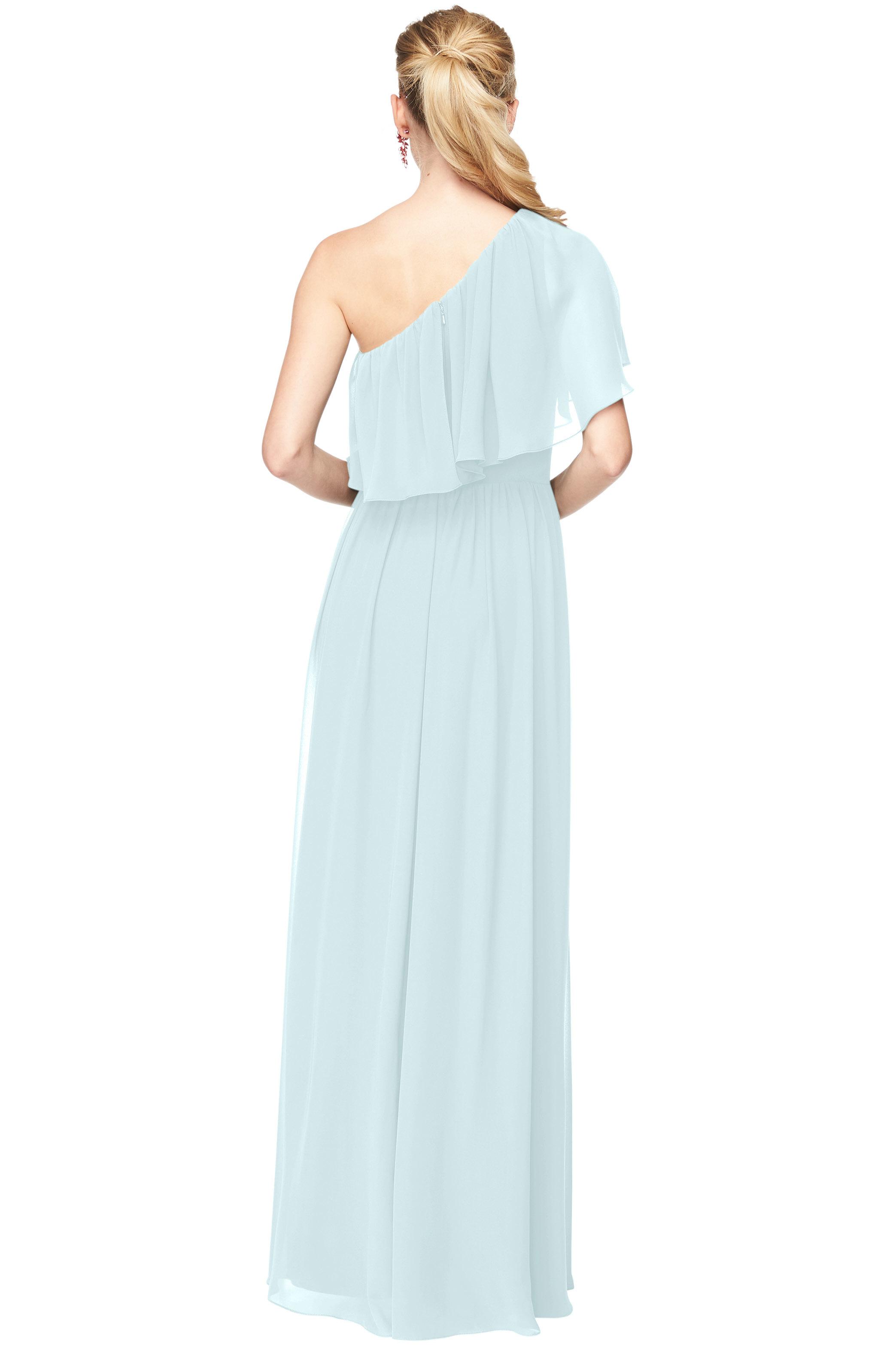 Bill Levkoff PALE BLUE Chiffon One Shoulder A-Line gown, $184.00 Back