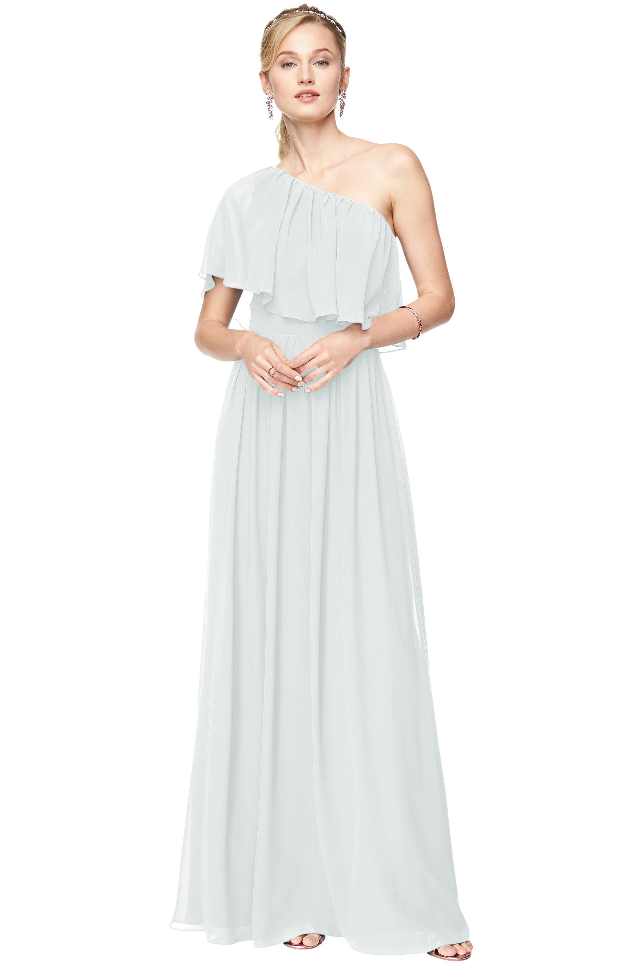 Bill Levkoff MIST Chiffon One Shoulder A-Line gown, $184.00 Front
